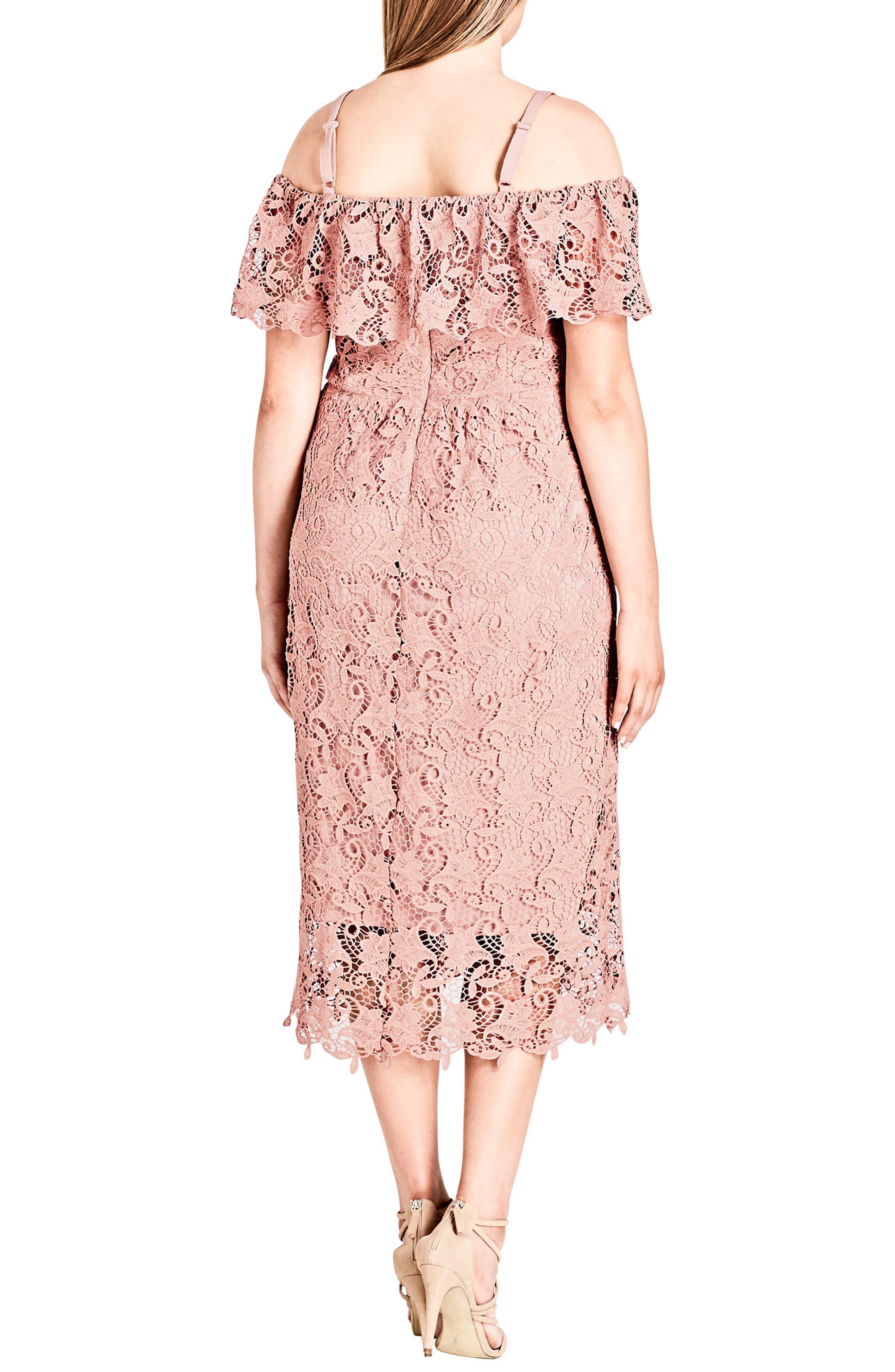 Spring Day Off the Shoulder Lace Sheath Dress,                             Alternate thumbnail 2, color,                             Ballet Pink