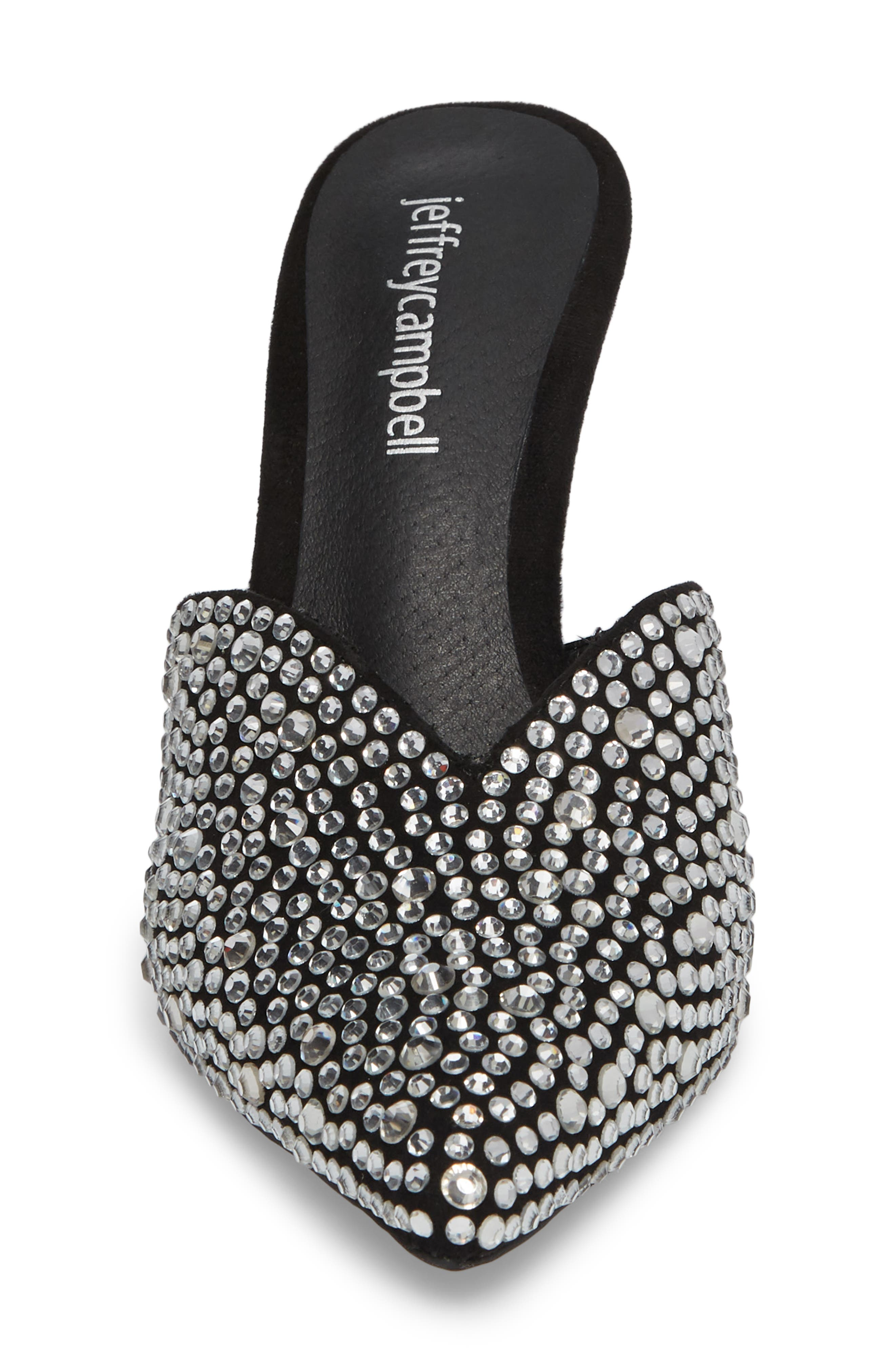 Jodeci Embellished Mule,                             Alternate thumbnail 4, color,                             Black Suede/ Clear