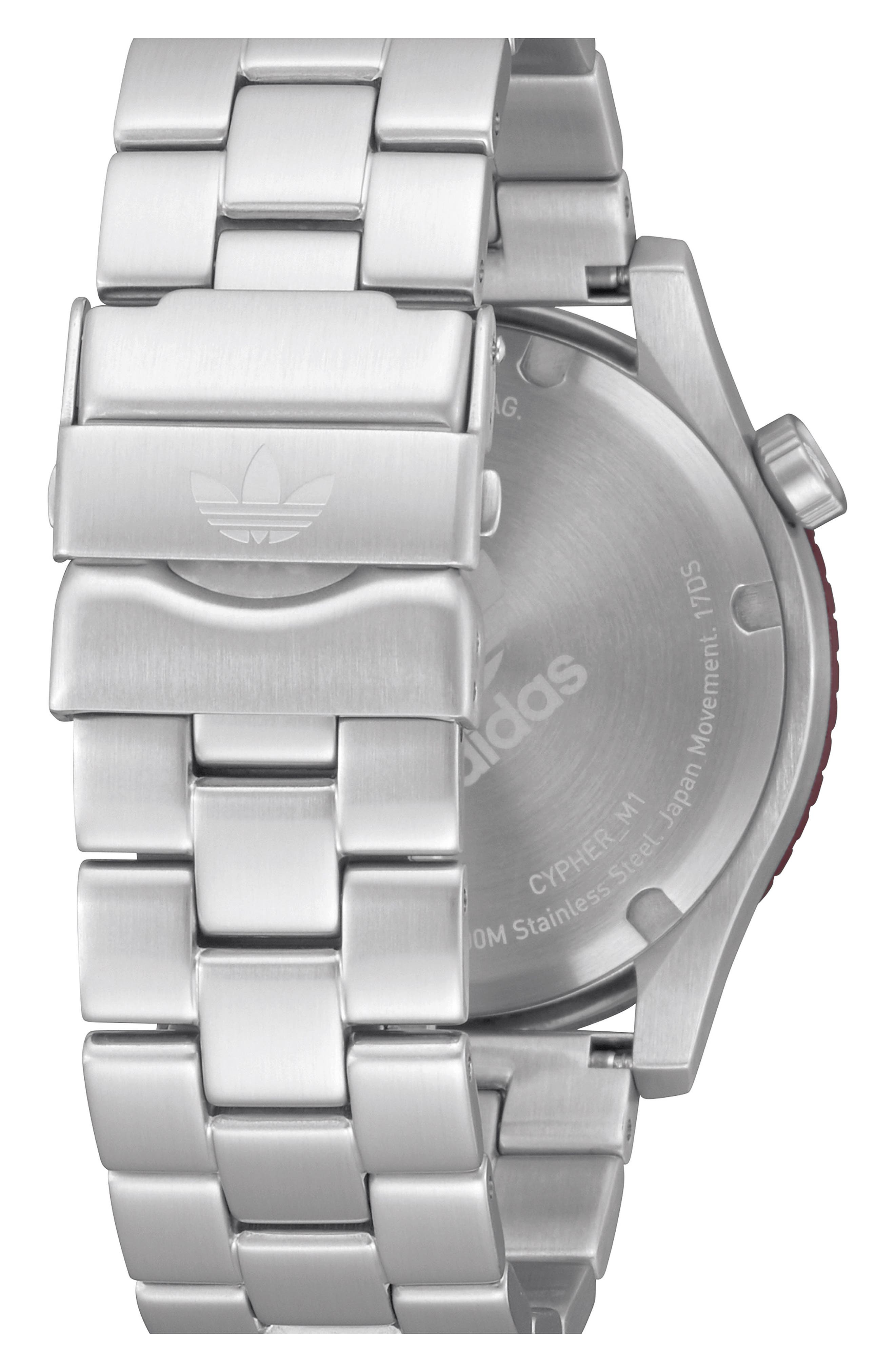 Cypher Bracelet Watch, 42mm,                             Alternate thumbnail 2, color,                             Silver/ Black/ Red