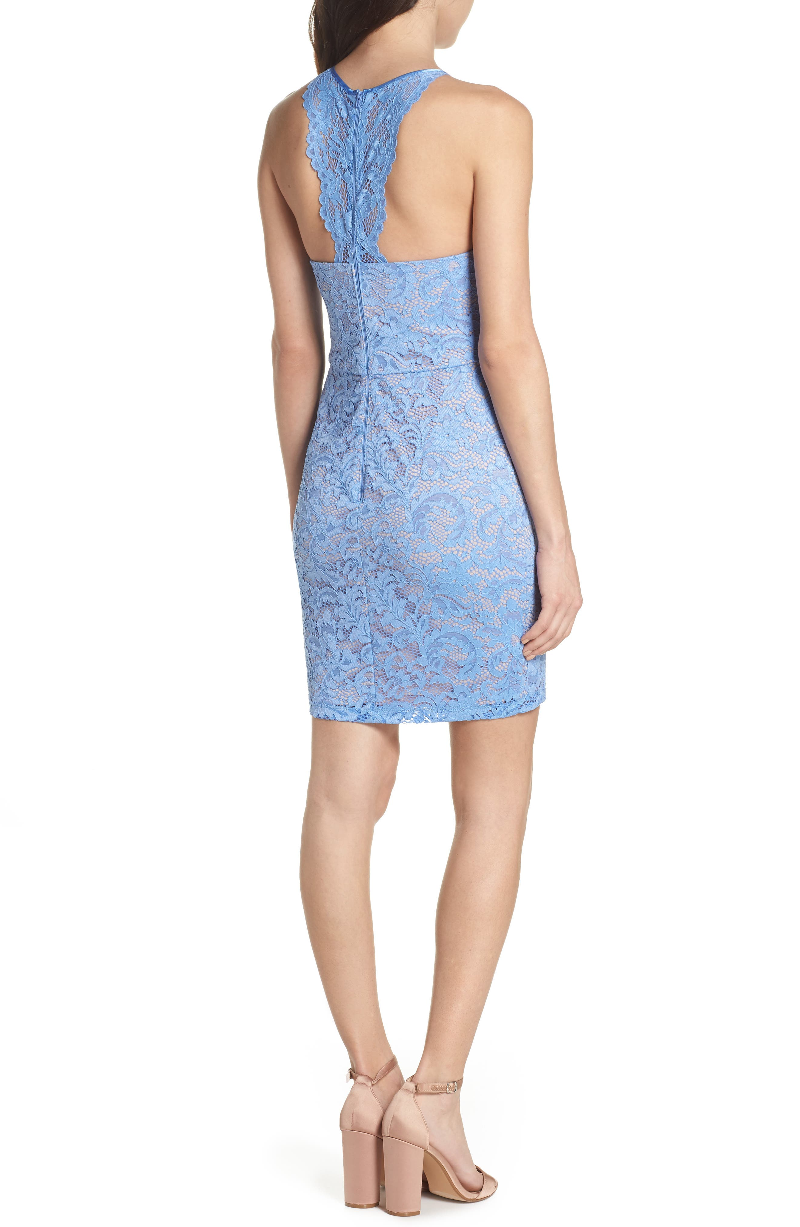 Racerback Lace Halter Dress,                             Alternate thumbnail 2, color,                             Periwinkle/ Mauve