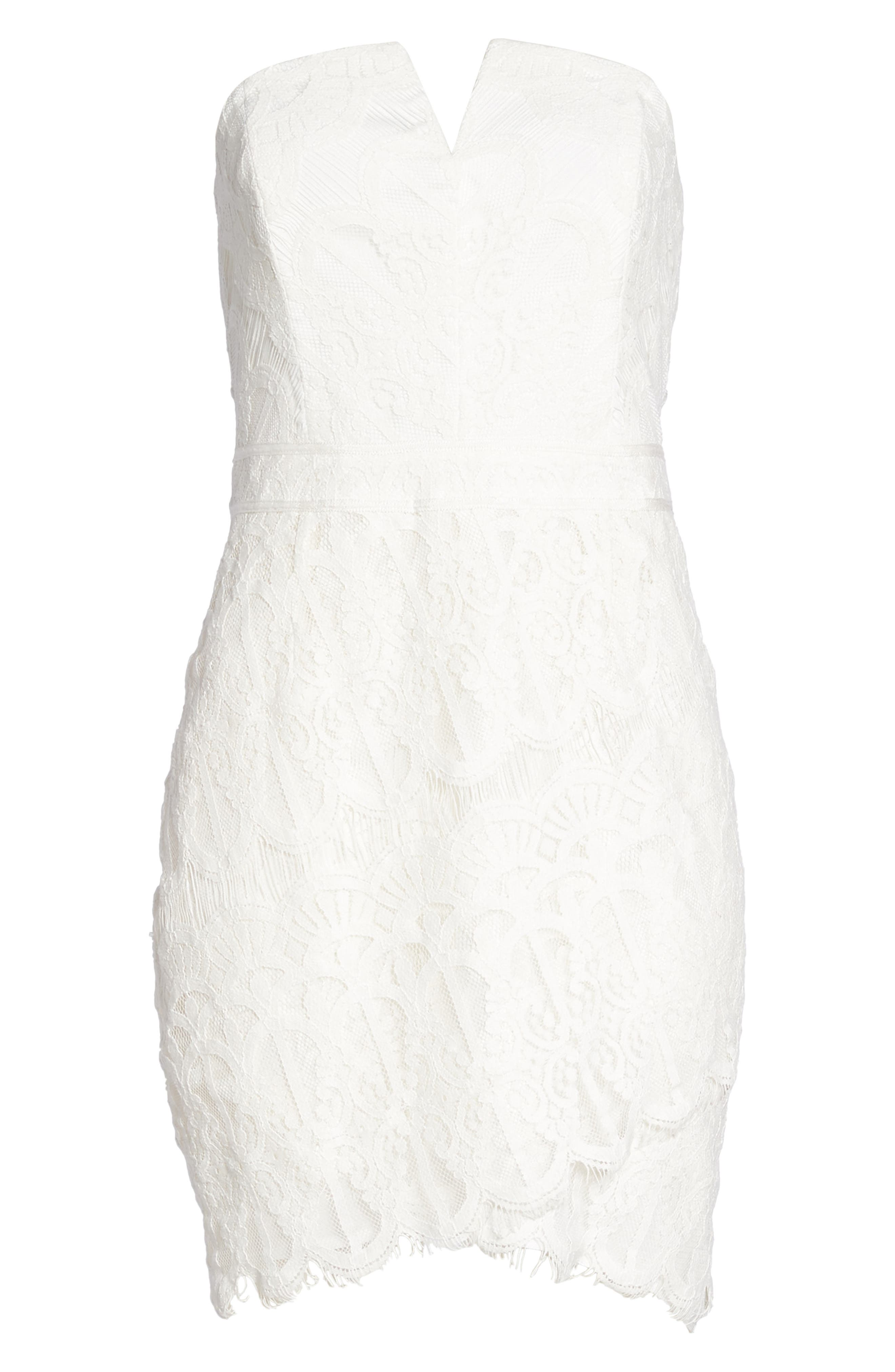 Strapless Lace Dress,                             Alternate thumbnail 7, color,                             White