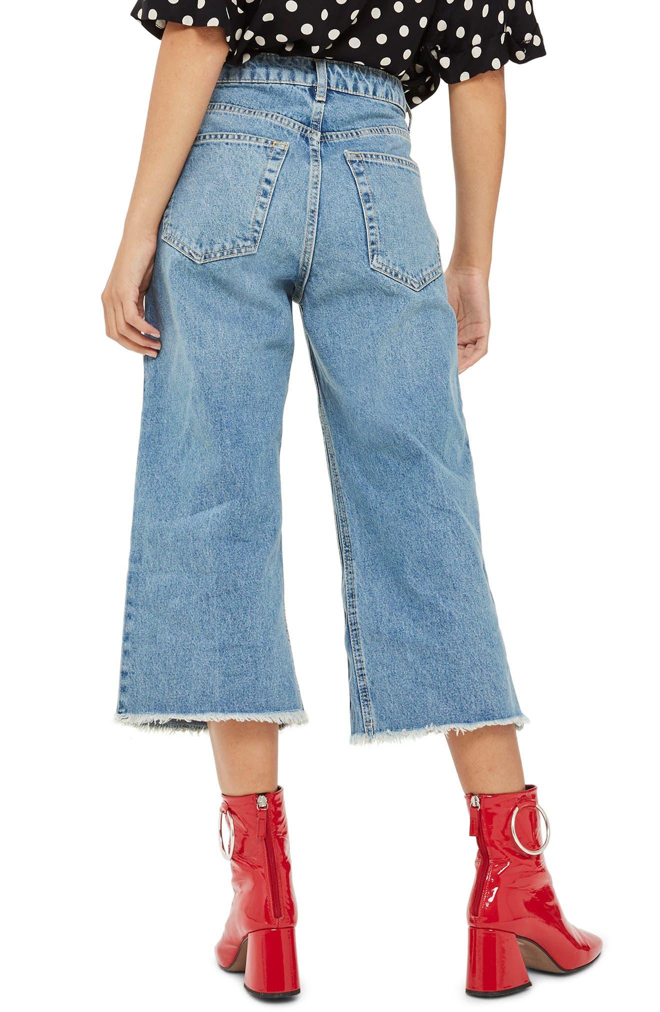 Petite Wide Leg Crop Jeans,                             Alternate thumbnail 3, color,                             Mid Denim