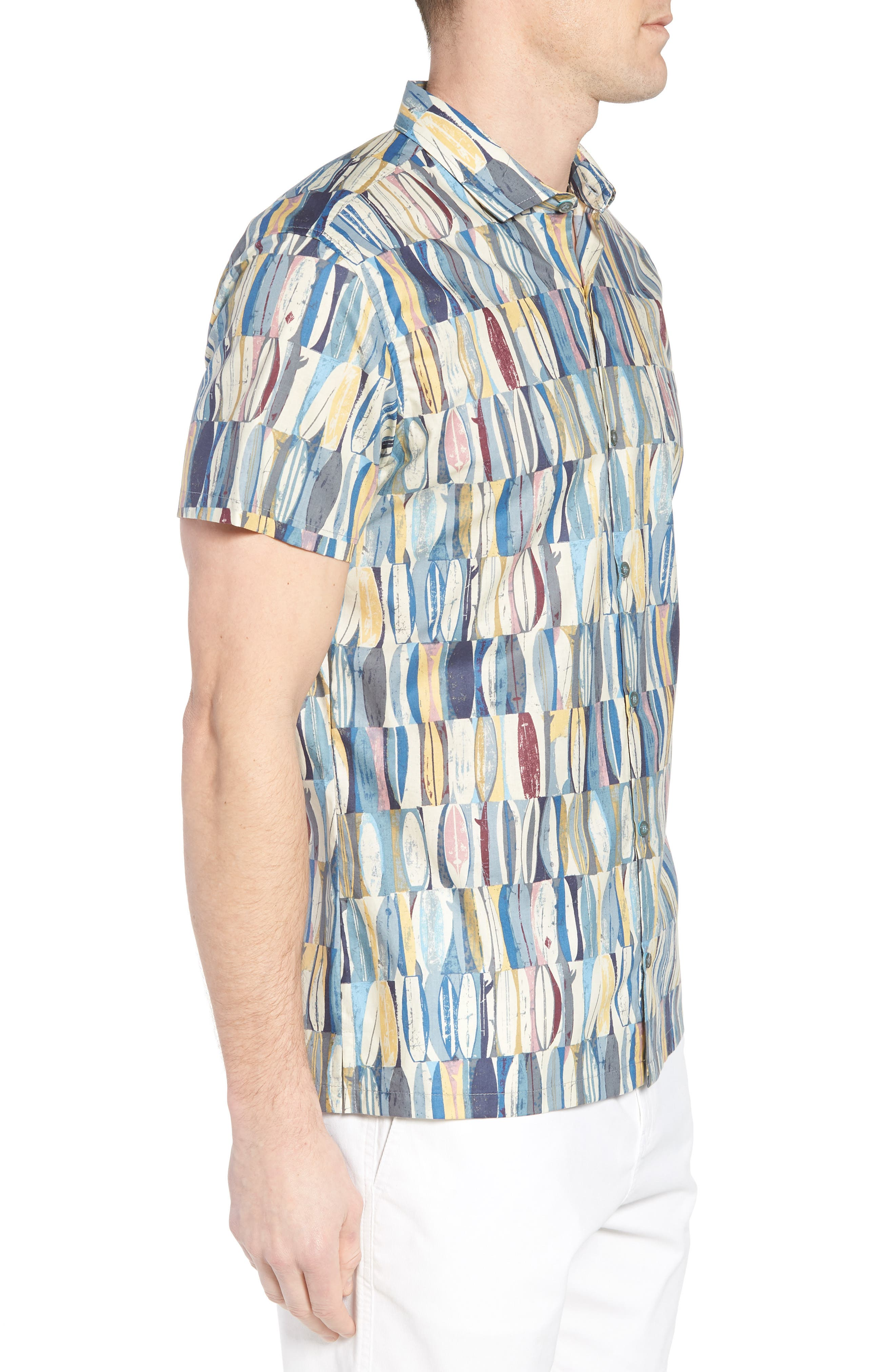 Board Room Trim Fit Camp Shirt,                             Alternate thumbnail 4, color,                             Ocean Blue