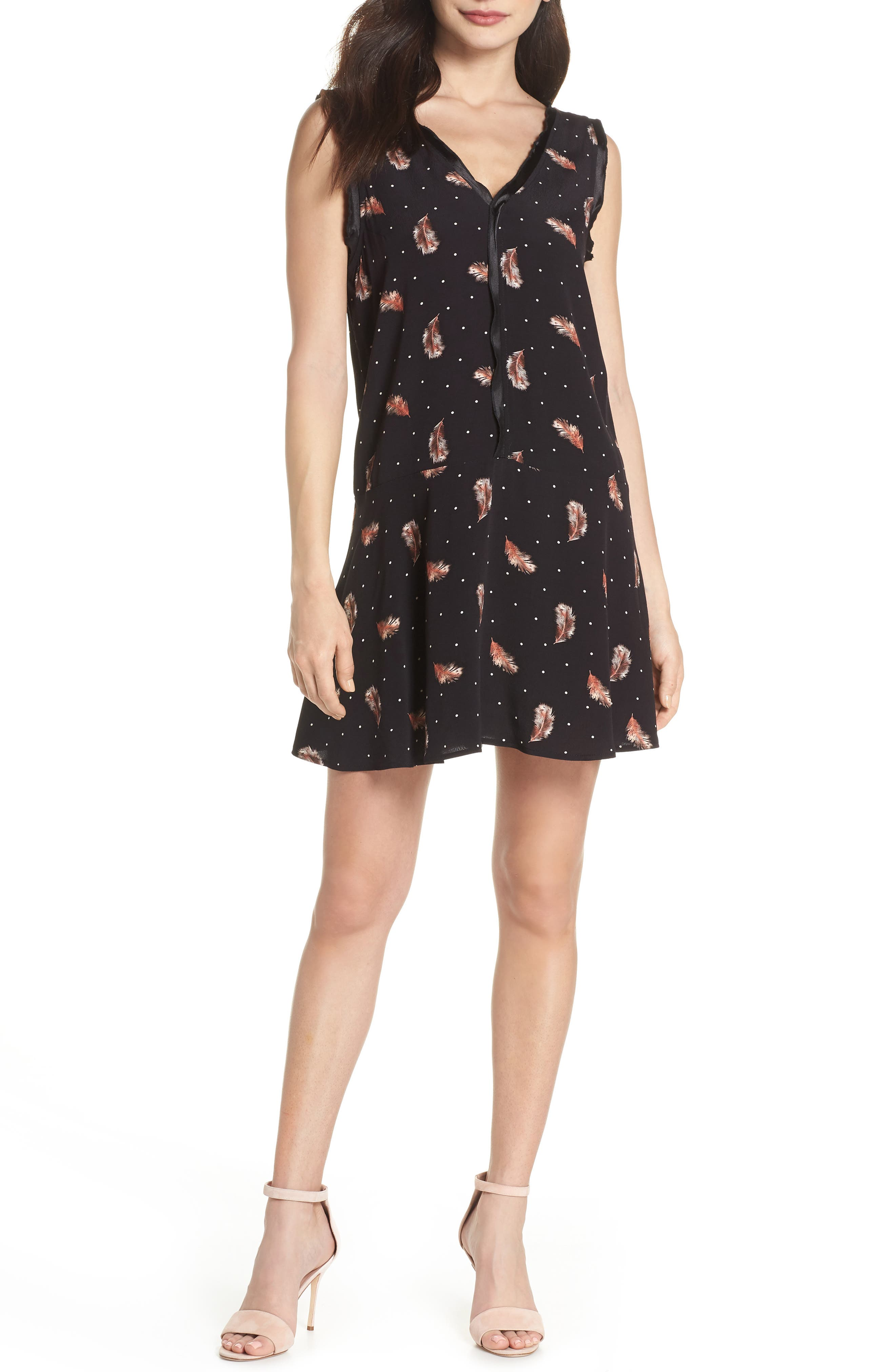 Tuesday Feather Print Dress,                         Main,                         color, Black Feather Dot