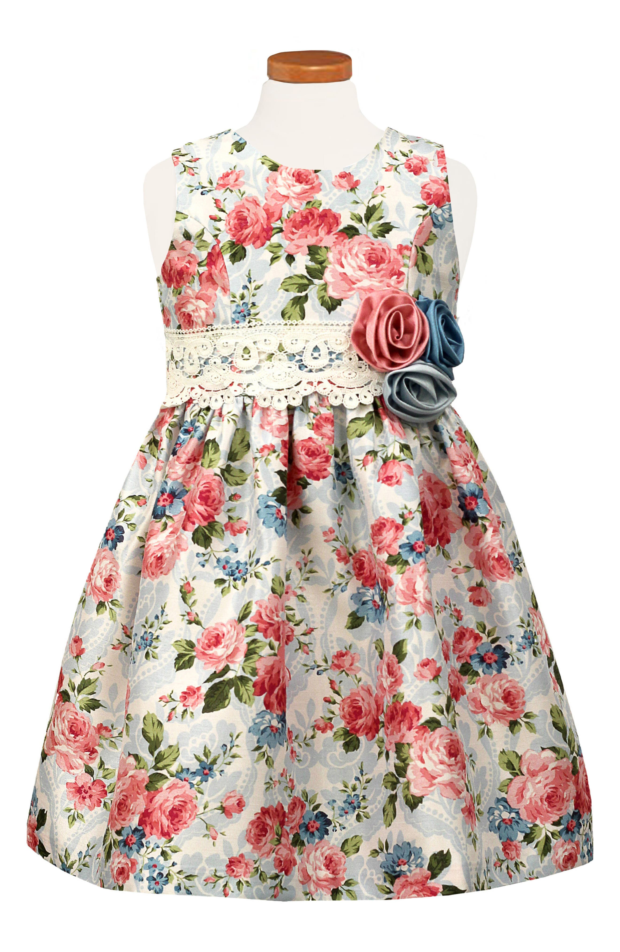Floral Party Dress,                             Main thumbnail 1, color,                             Blue