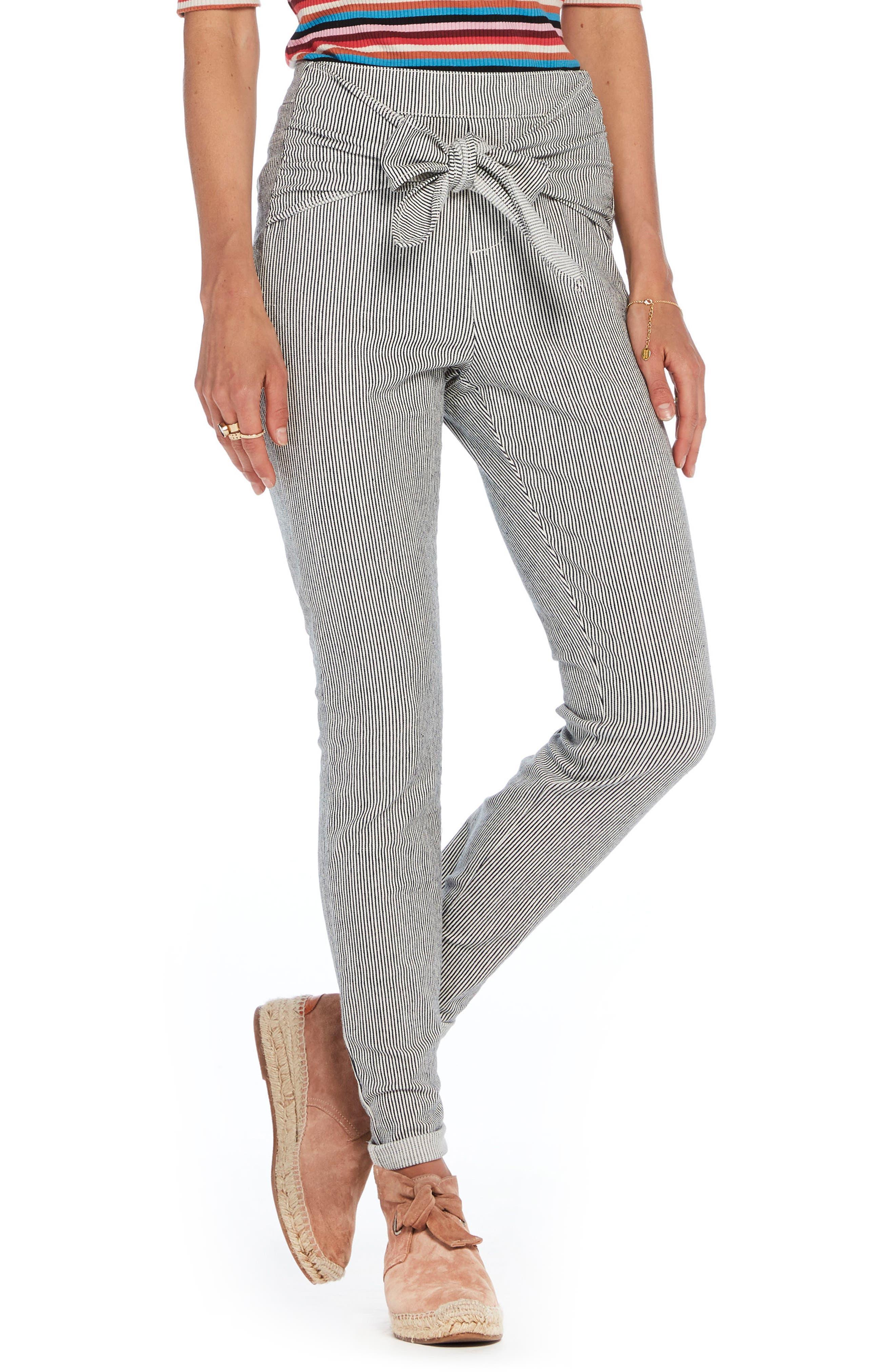 Scotch & Soda Stripe Tie Front Skinny Pants