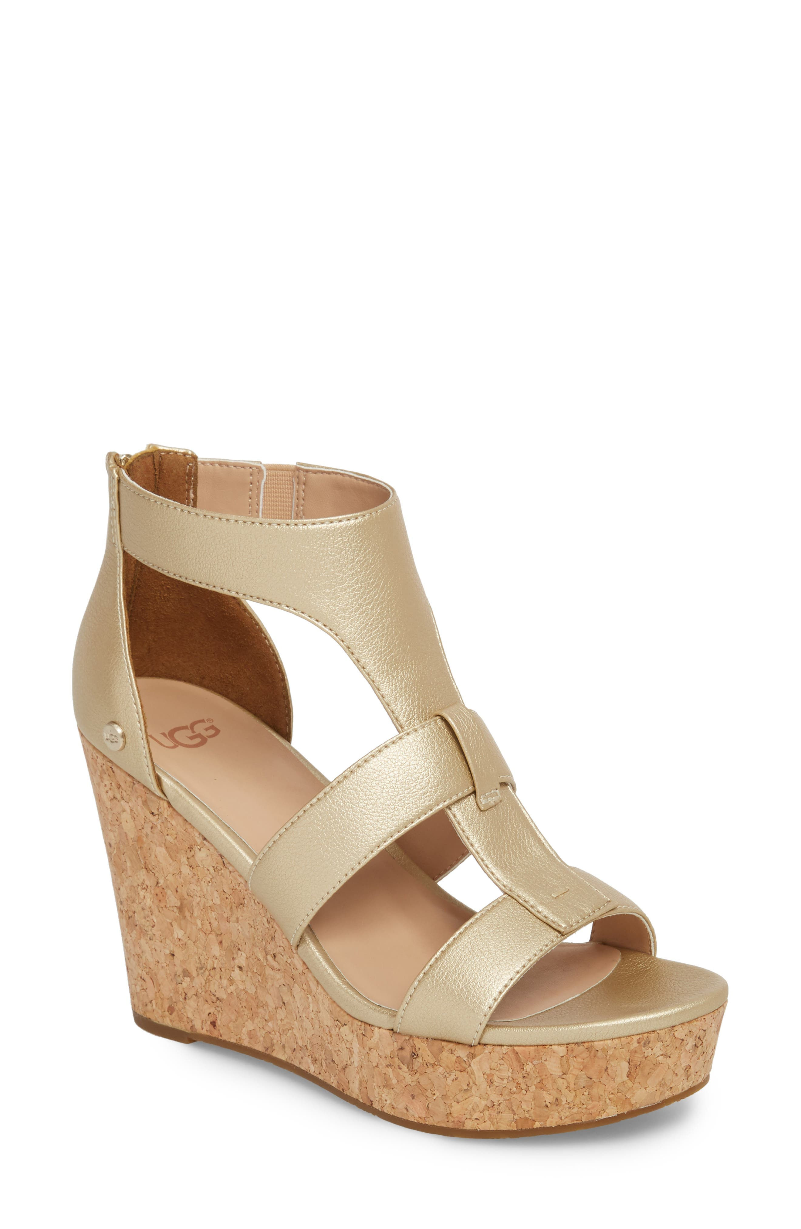 Whitney Platform Wedge Sandal,                             Main thumbnail 1, color,                             Gold Leather