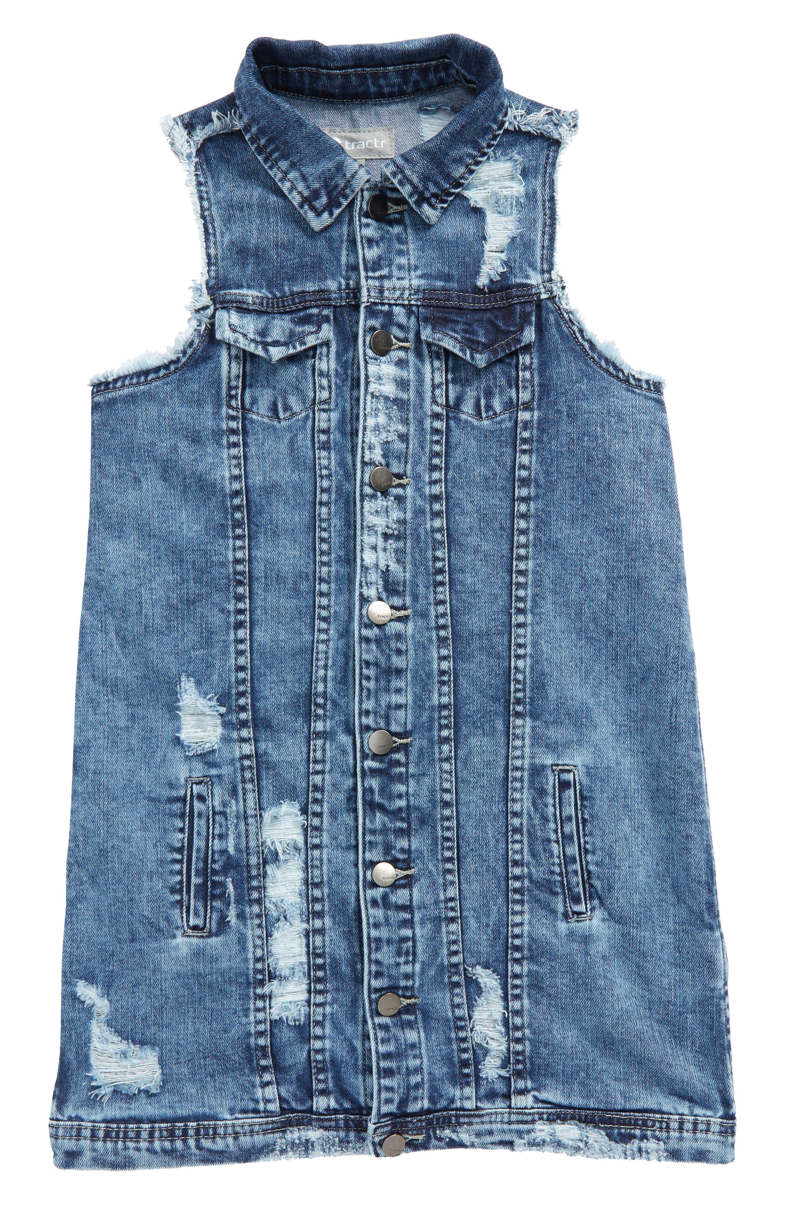Tractr Oversize Deconstructed Denim Vest (Big Girls)
