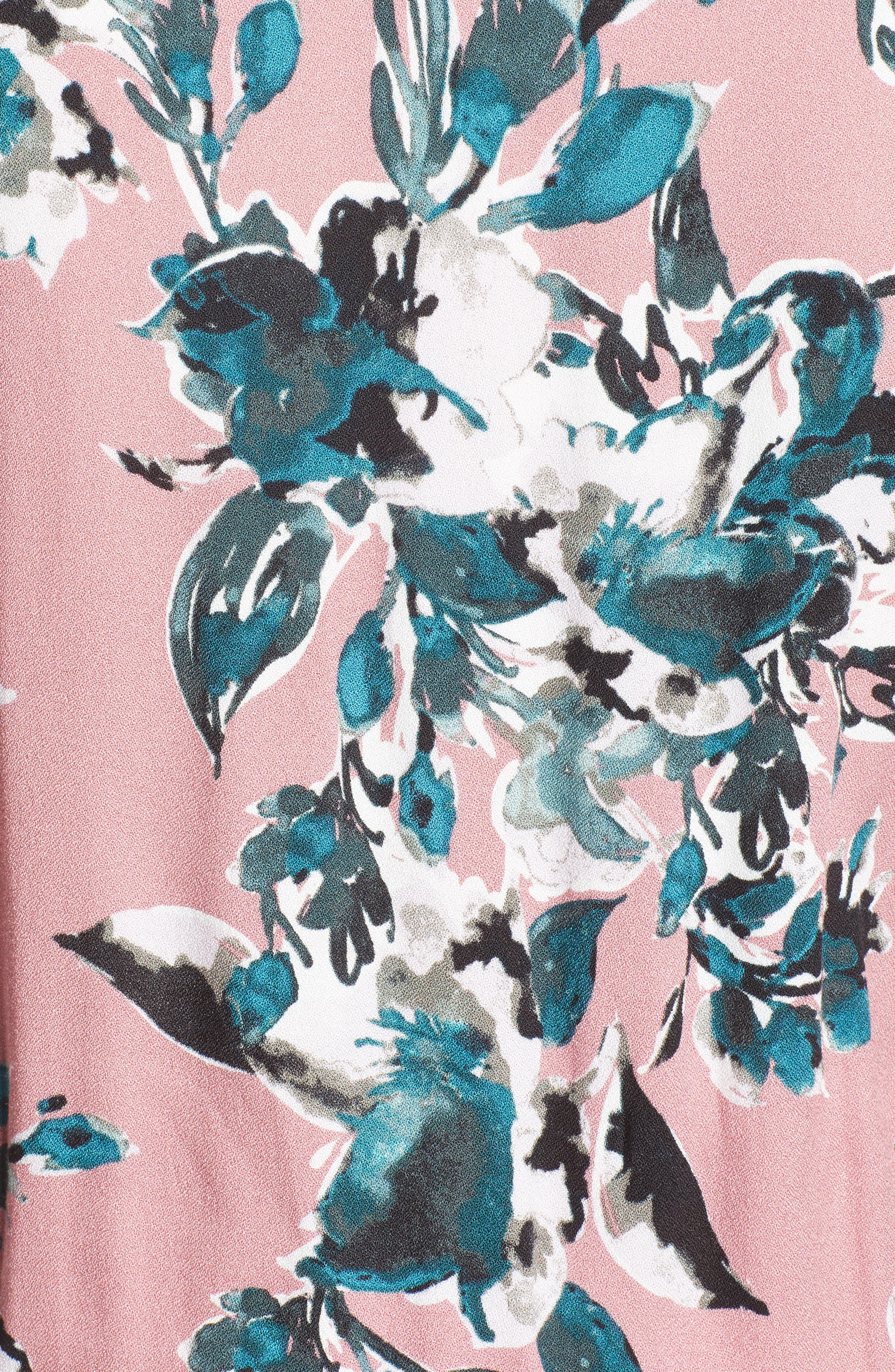 Floral Print Wrap Maxi Dress,                             Alternate thumbnail 5, color,                             Rose Dust