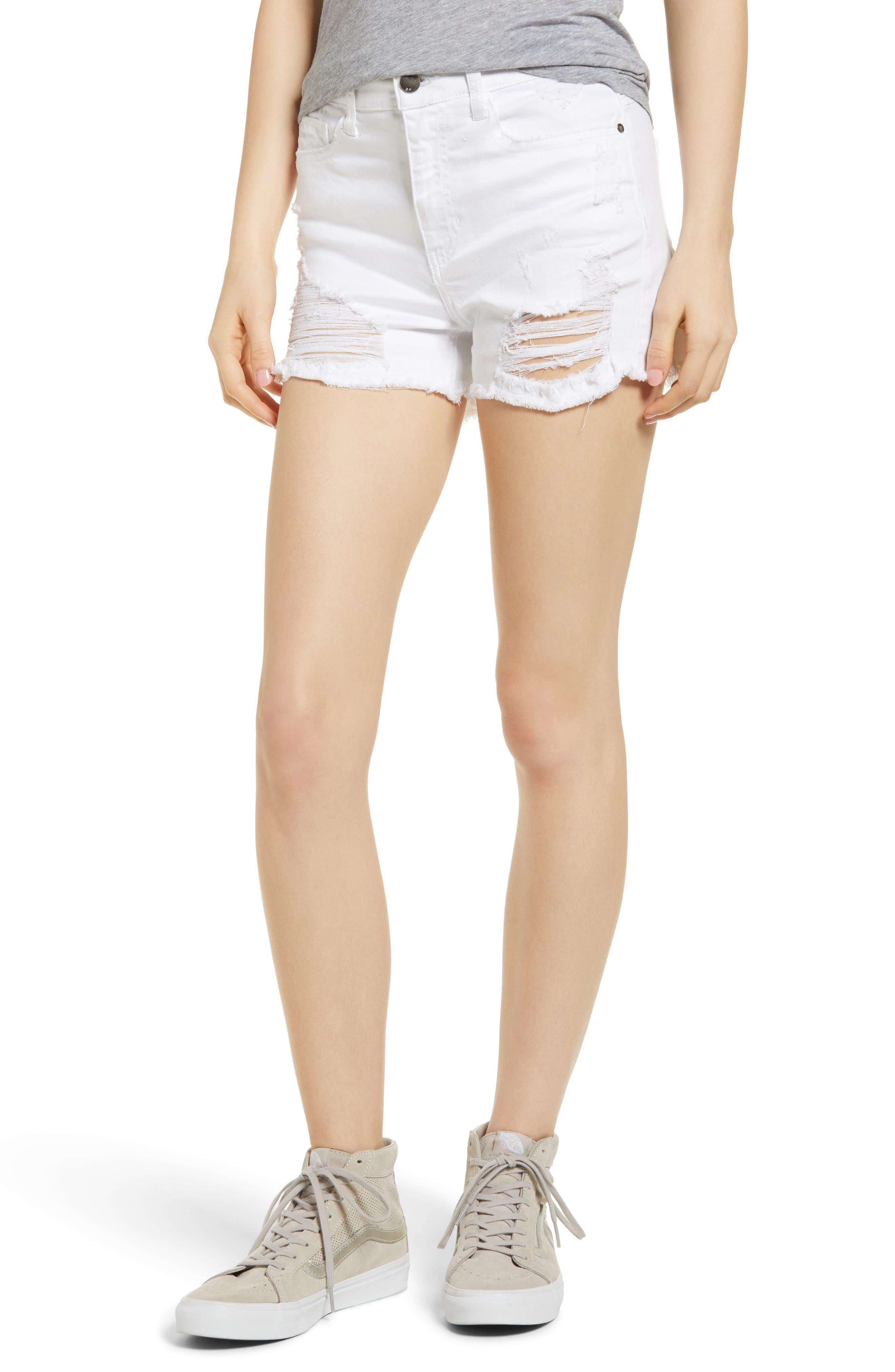 Ripped Cutoff Shorts,                         Main,                         color, White