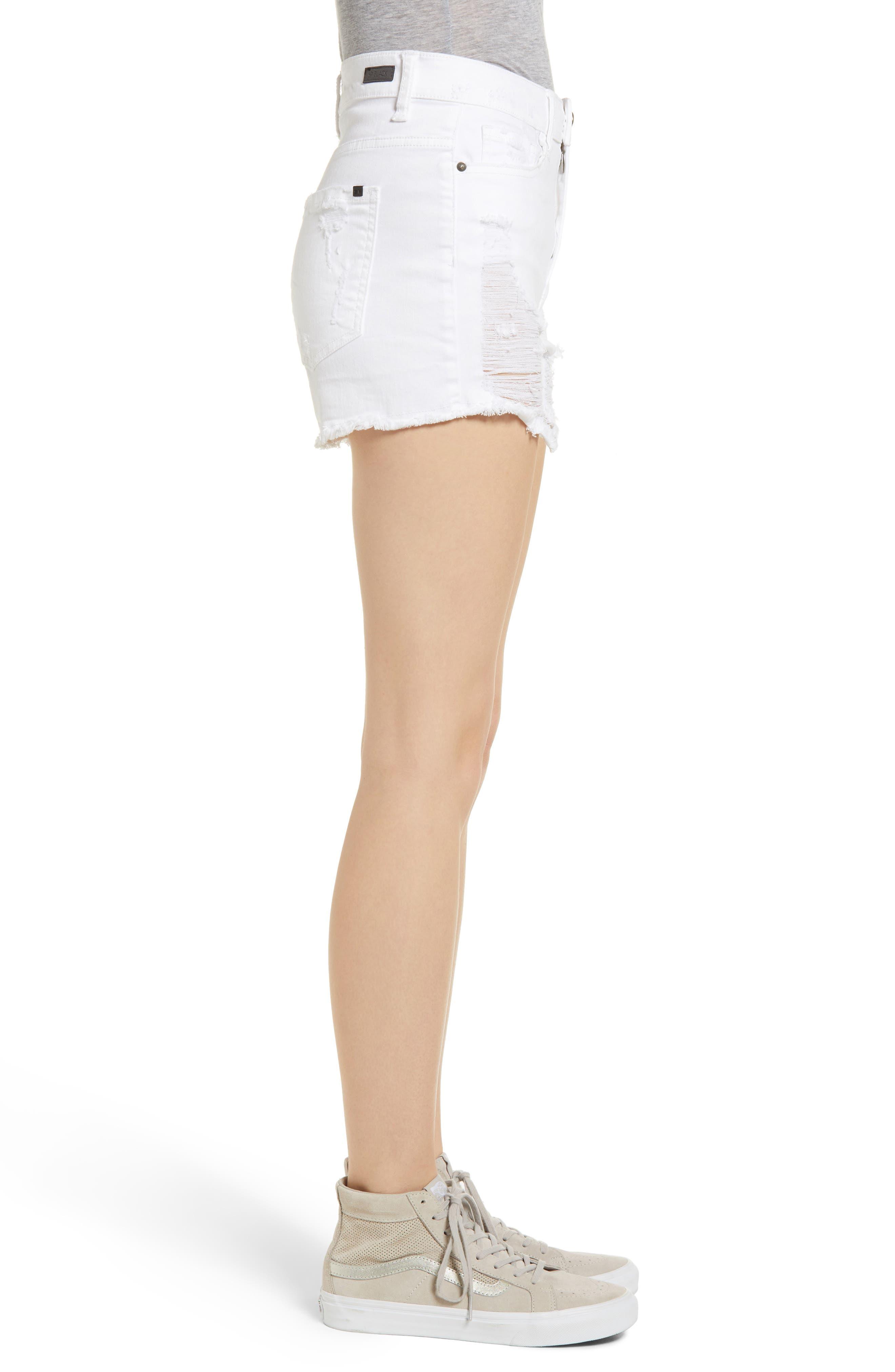 Ripped Cutoff Shorts,                             Alternate thumbnail 3, color,                             White
