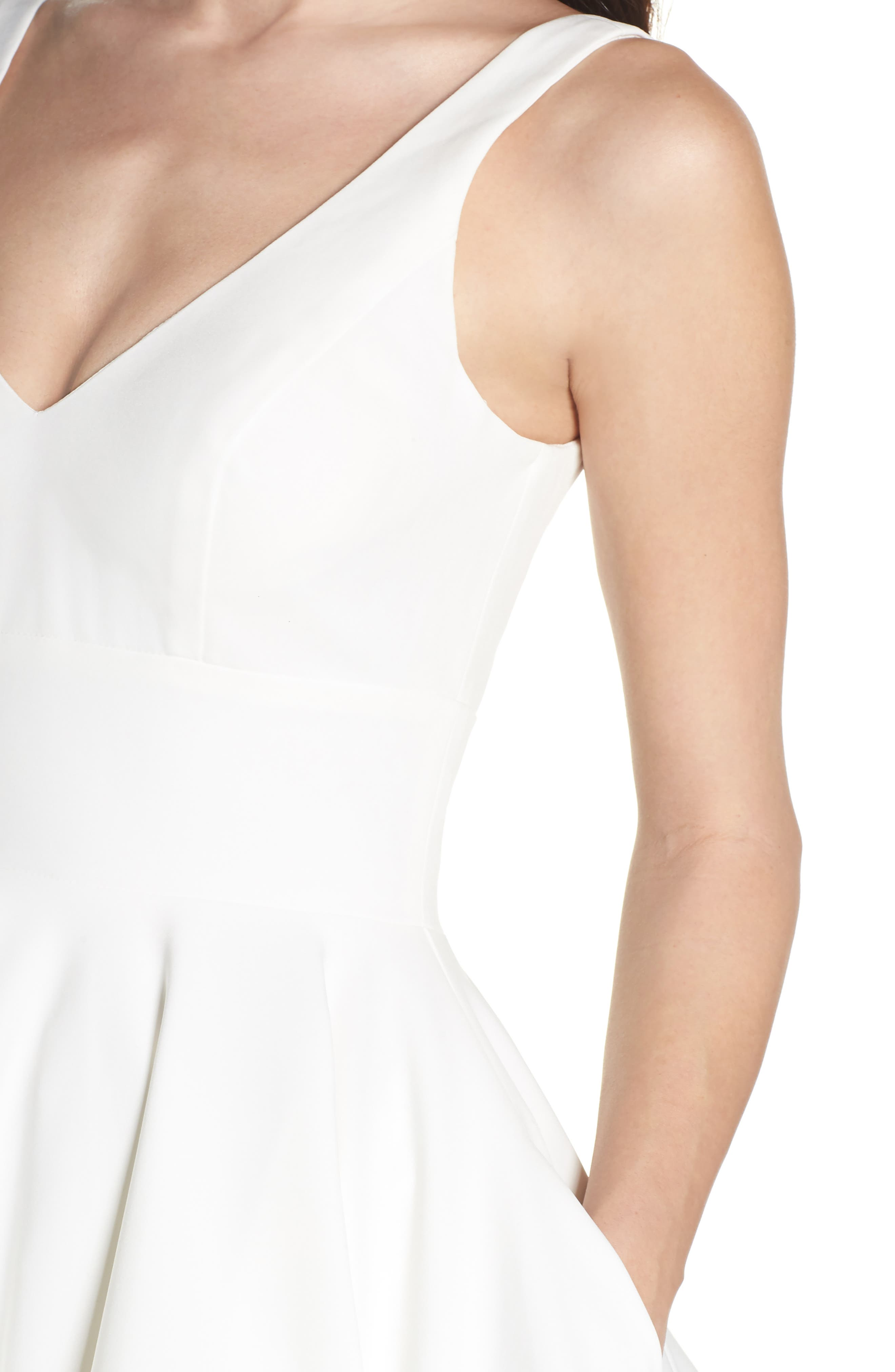 Double V-Neck Fit & Flare Party Dress,                             Alternate thumbnail 4, color,                             Ivory