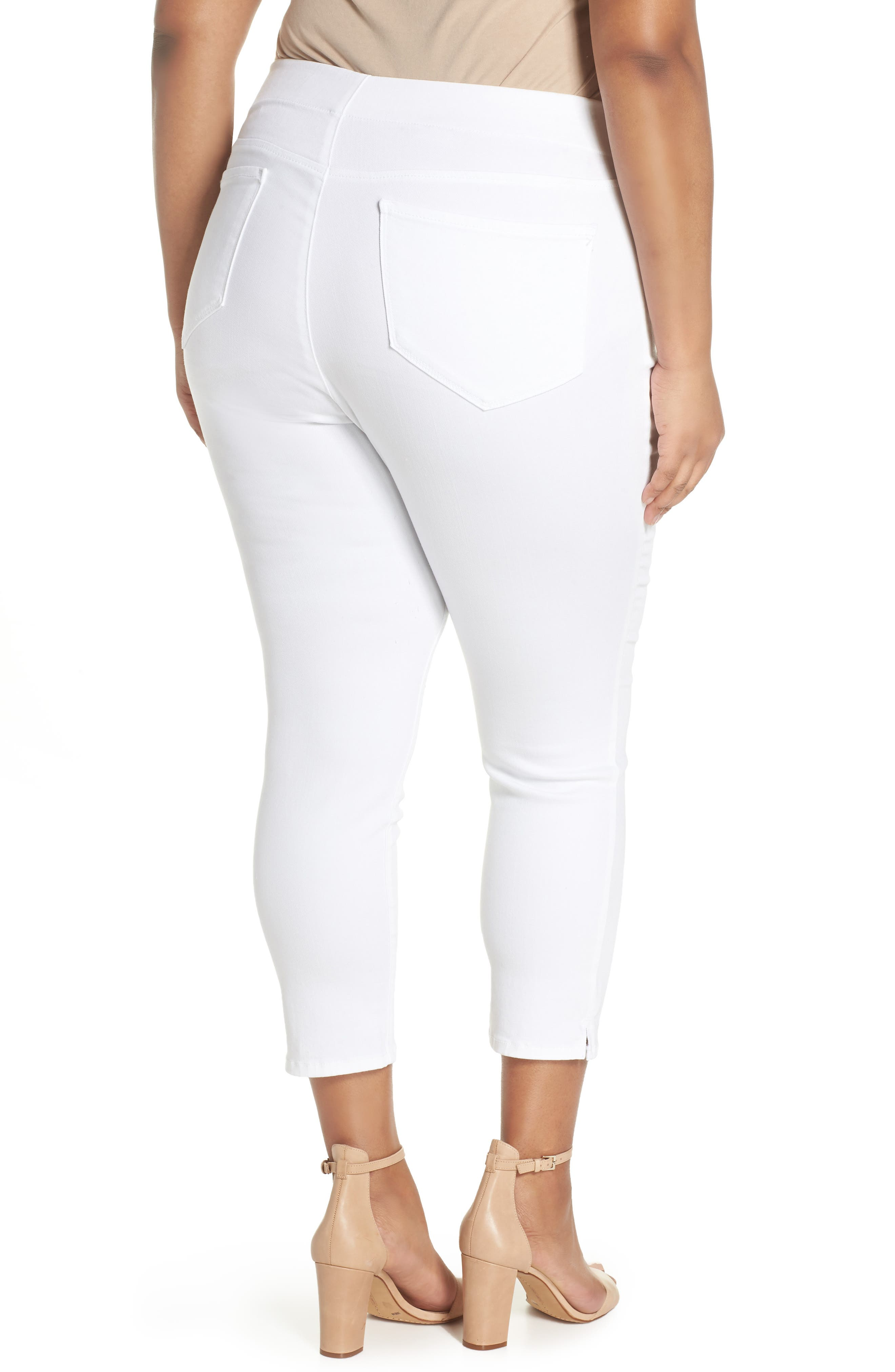Alternate Image 2  - NYDJ Alina Pull-On Ankle Skinny Jeans (Endless White) (Plus Size)