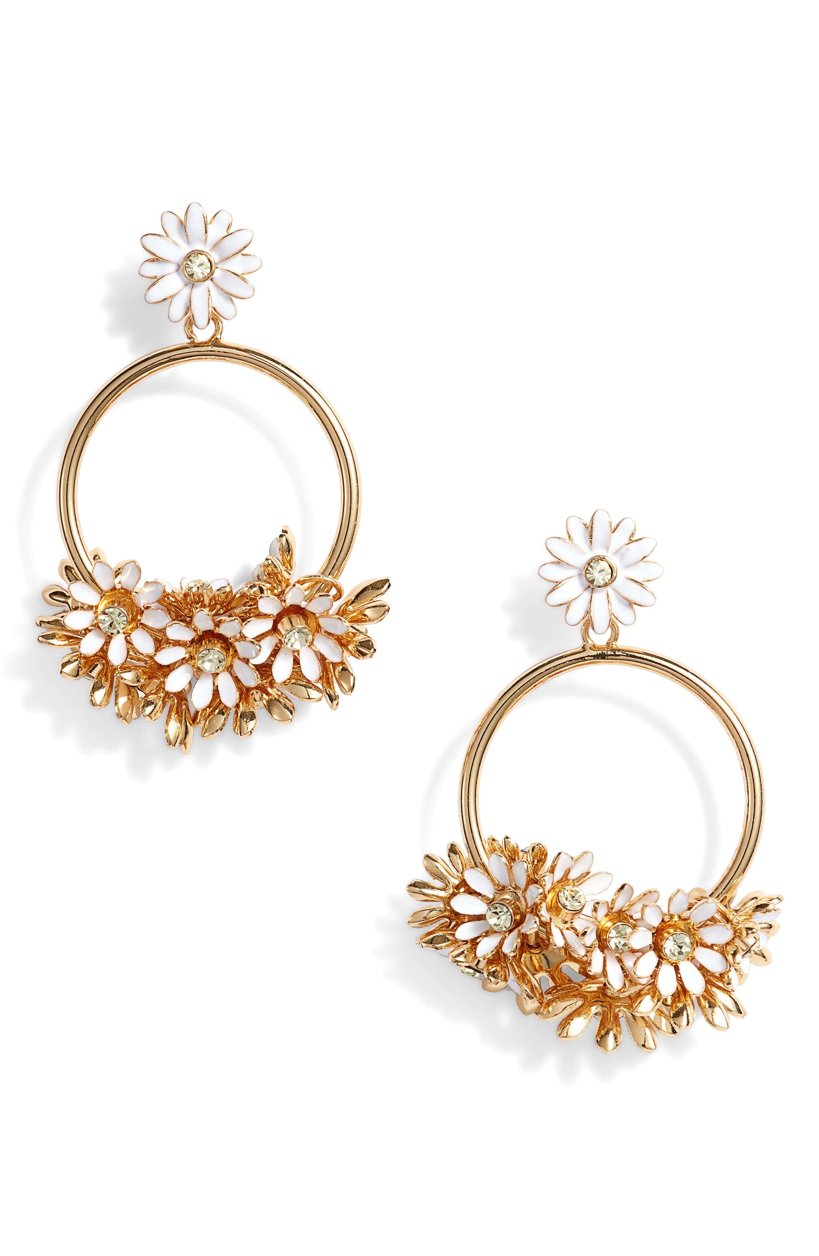 loves me loves me not drop hoop earrings,                         Main,                         color, White Multi