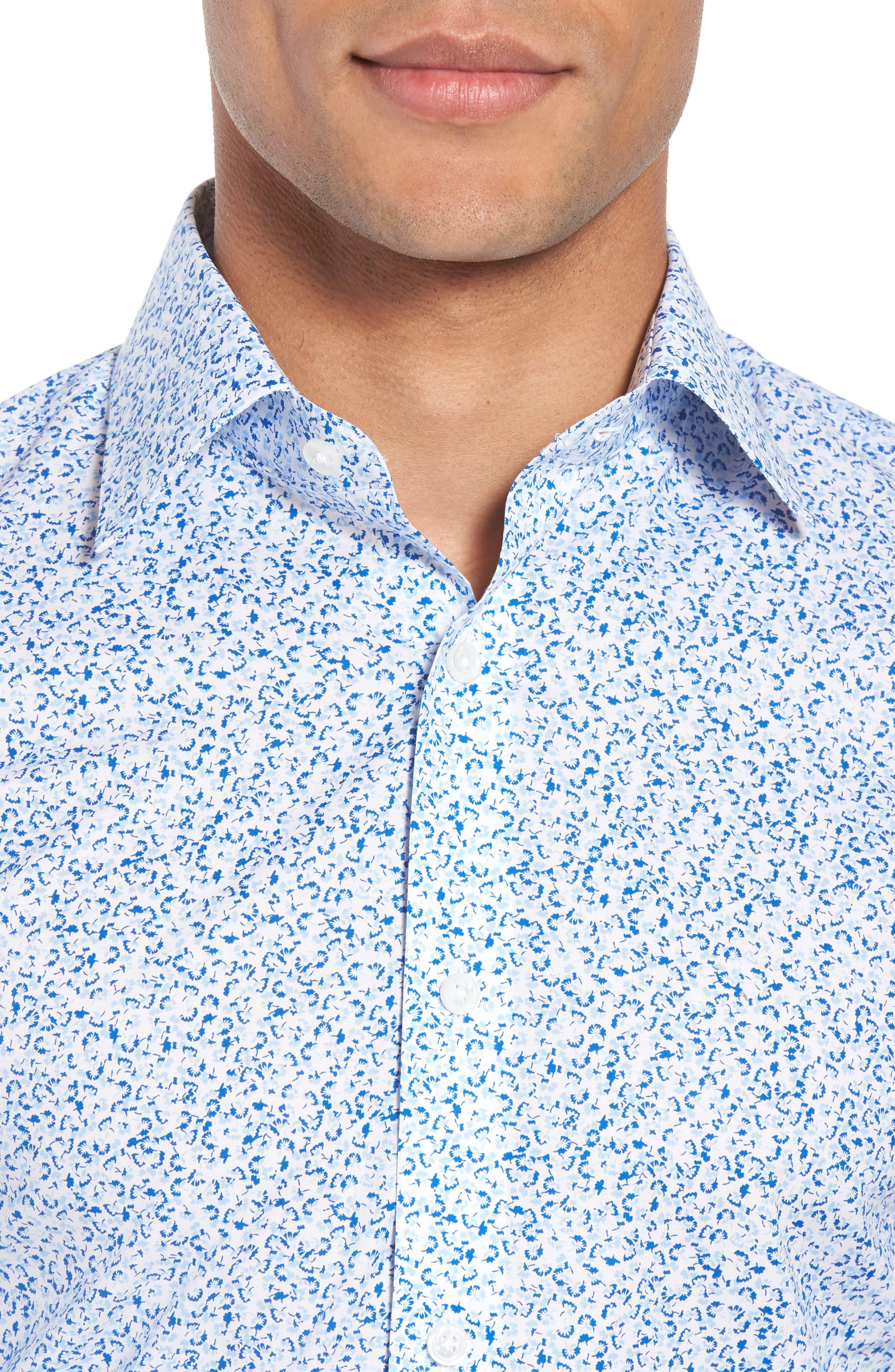 Jetsetter Slim Fit Floral Dress Shirt,                             Alternate thumbnail 2, color,                             Lapis Blue