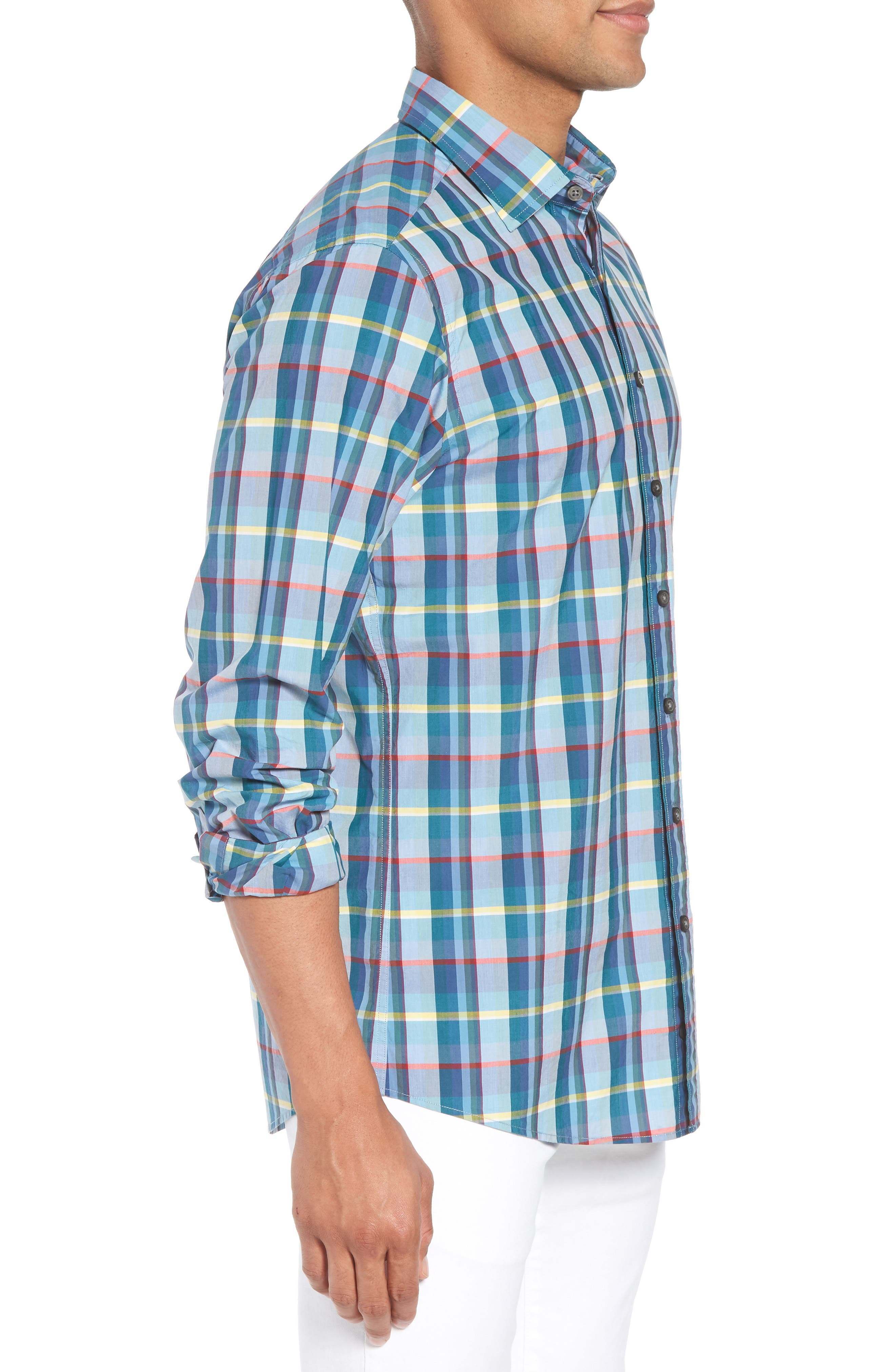 Stockyard Bay Sports Fit Plaid Sport Shirt,                             Alternate thumbnail 4, color,                             Forest