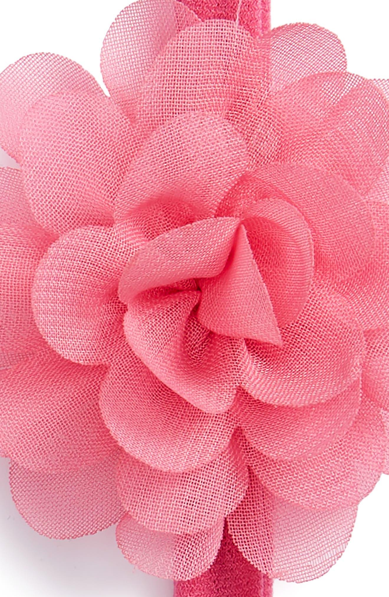 Set of 2 Mini Flower Headbands,                             Alternate thumbnail 2, color,                             White/ Hot Pink