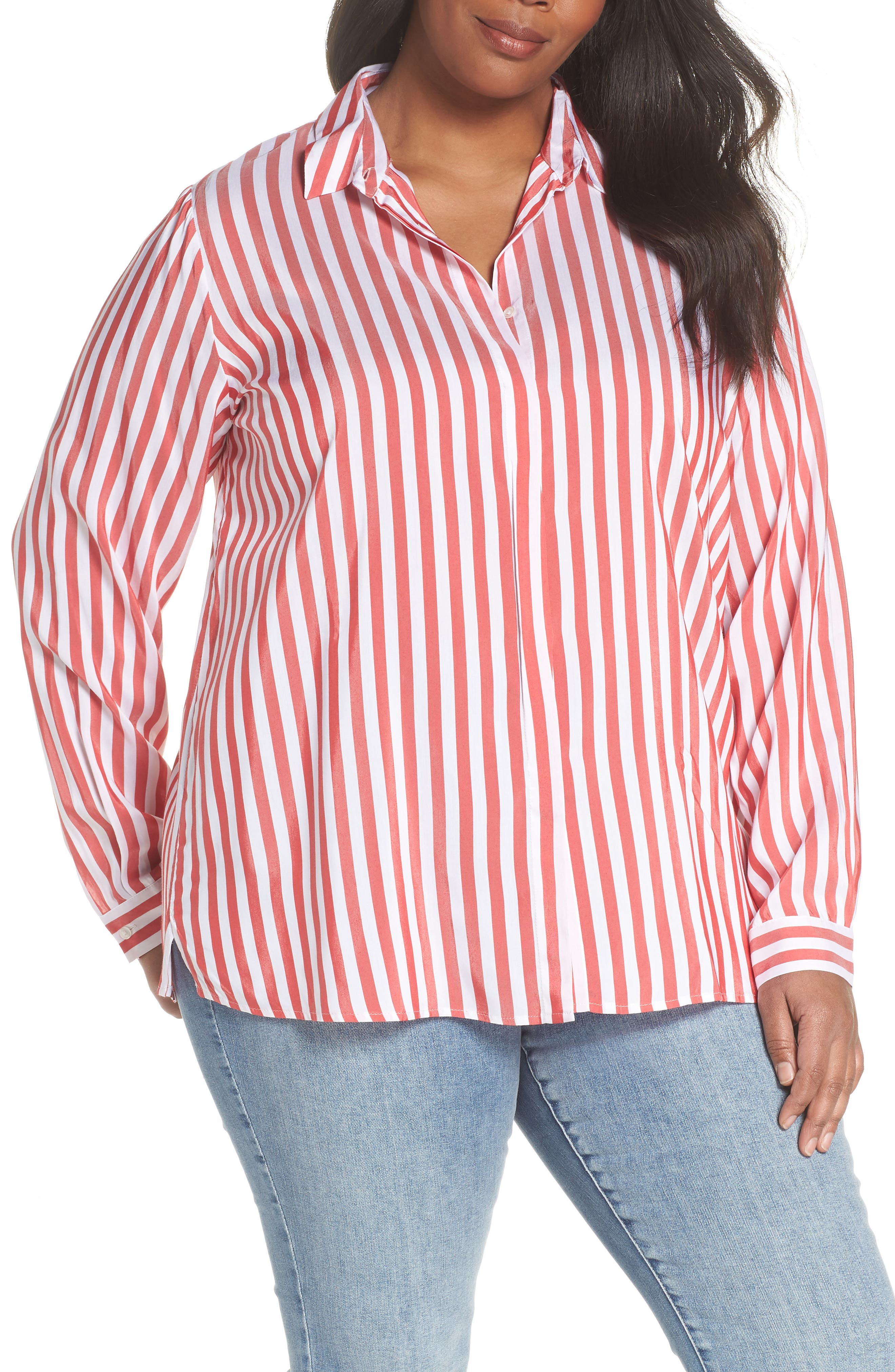 Stripe Blouse,                             Main thumbnail 1, color,                             Red/ White Stripe