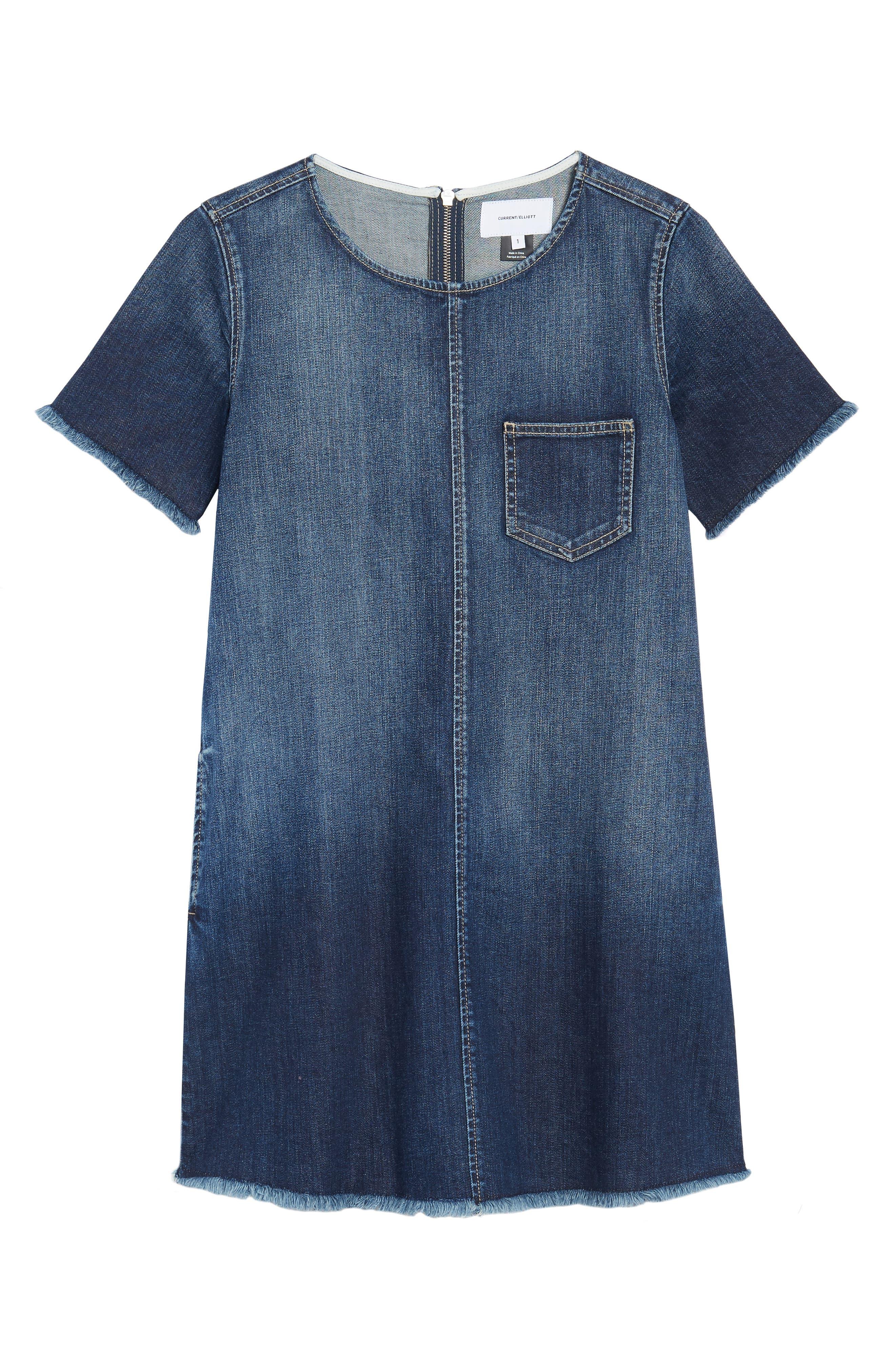The Frayed Edge Denim Shift Dress,                             Alternate thumbnail 6, color,                             Belloc