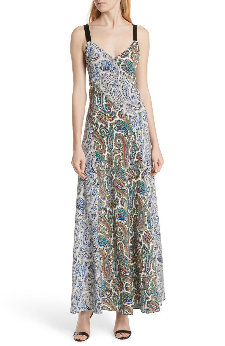 Paneled Silk Maxi Dress