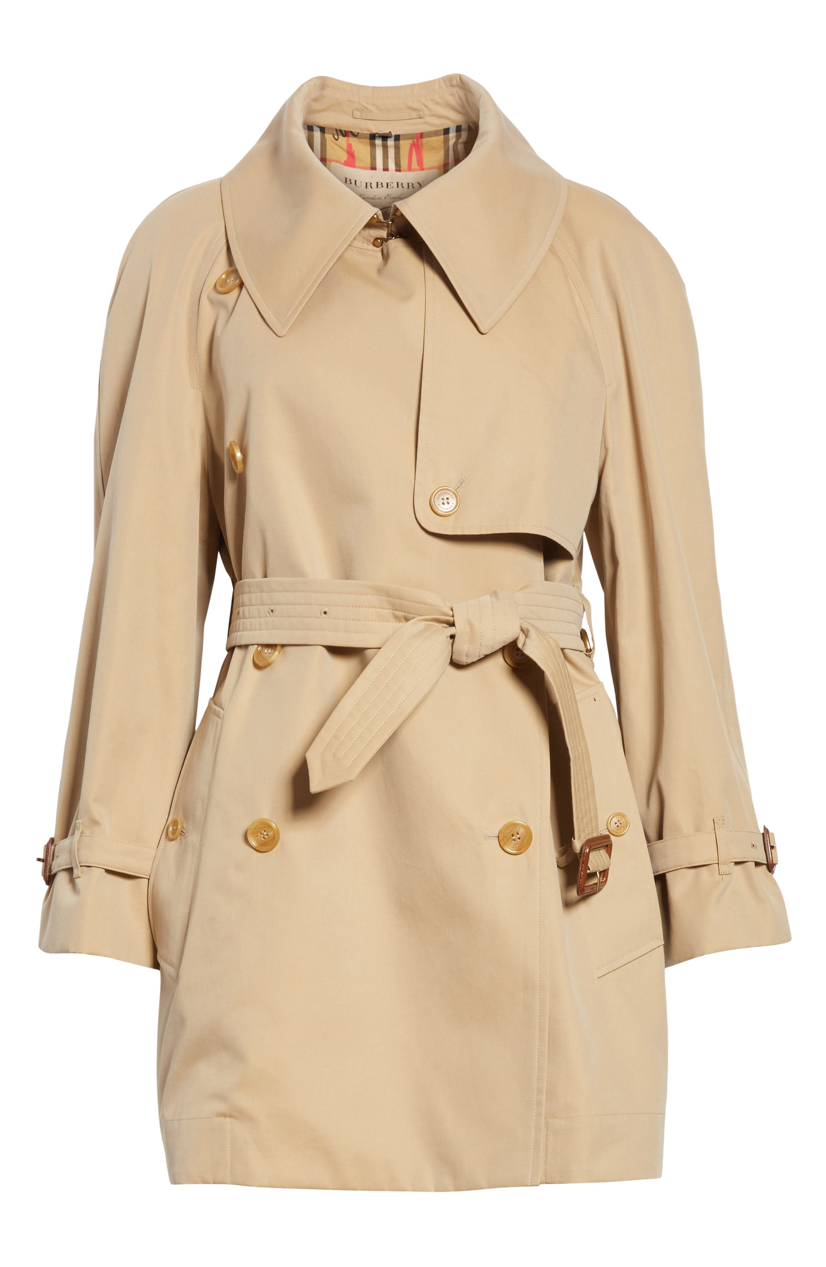 Fortingall Cotton Gabardine Trench Coat,                             Alternate thumbnail 6, color,                             Honey