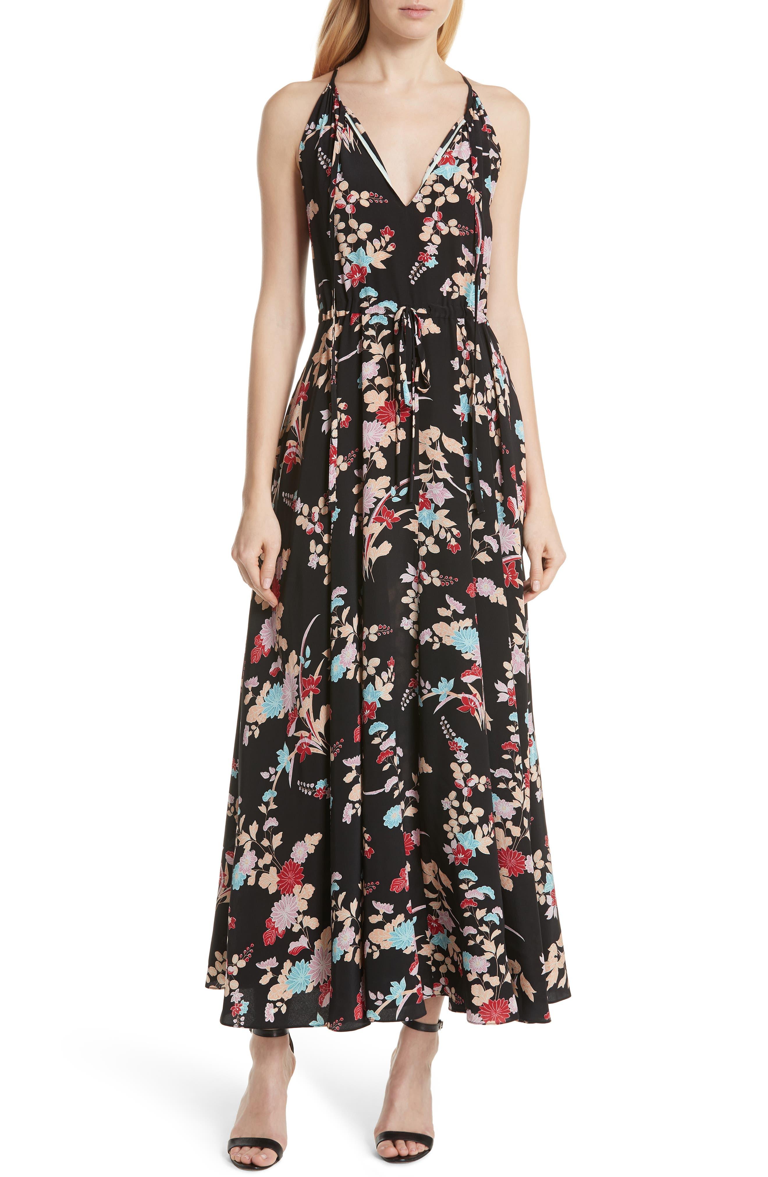 Floral Keyhole Tie Waist Silk Maxi Dress,                         Main,                         color, Walden Black
