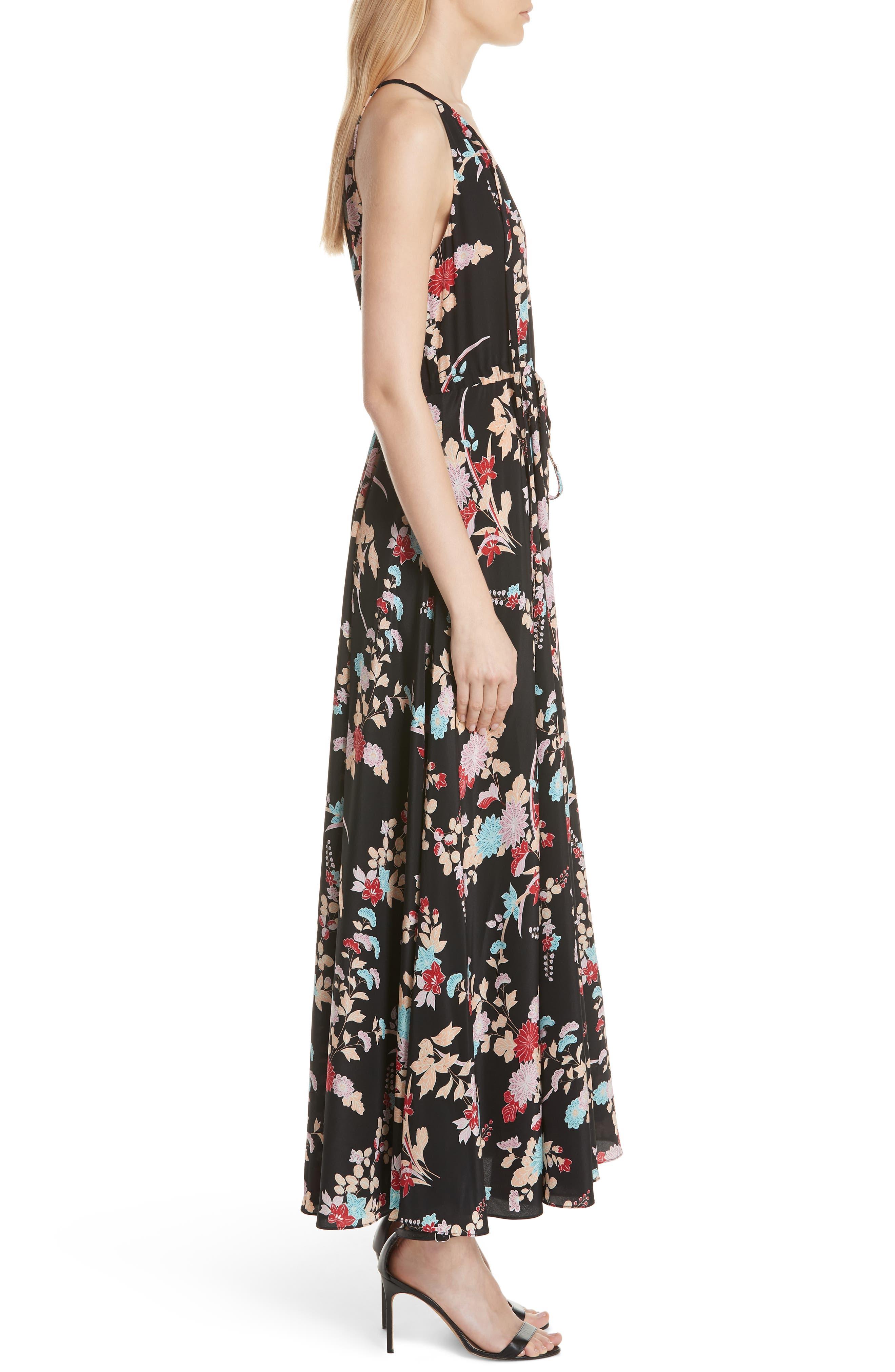 Floral Keyhole Tie Waist Silk Maxi Dress,                             Alternate thumbnail 3, color,                             Walden Black