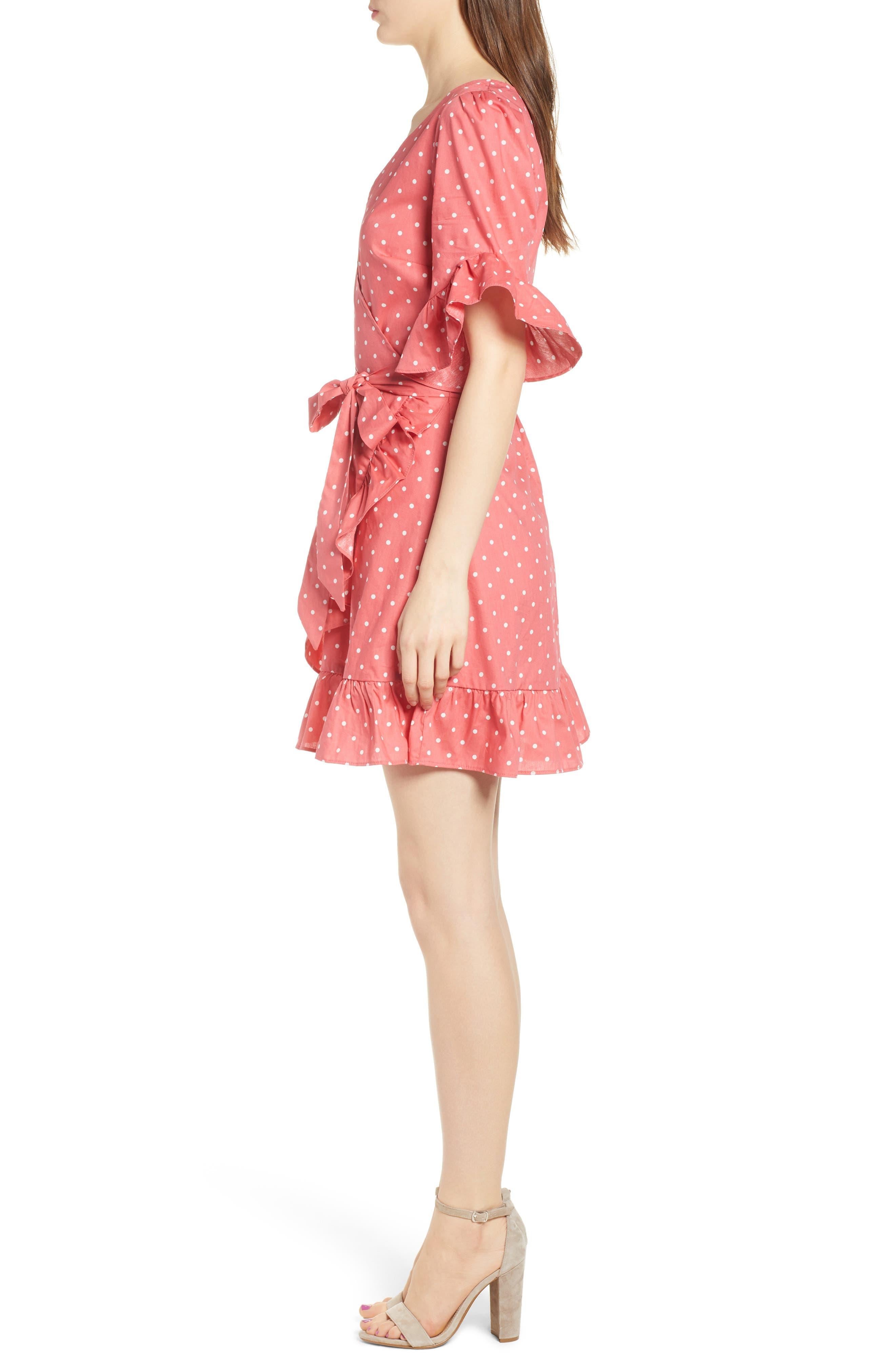 Ruffle Faux Wrap Dress,                             Alternate thumbnail 3, color,                             Red