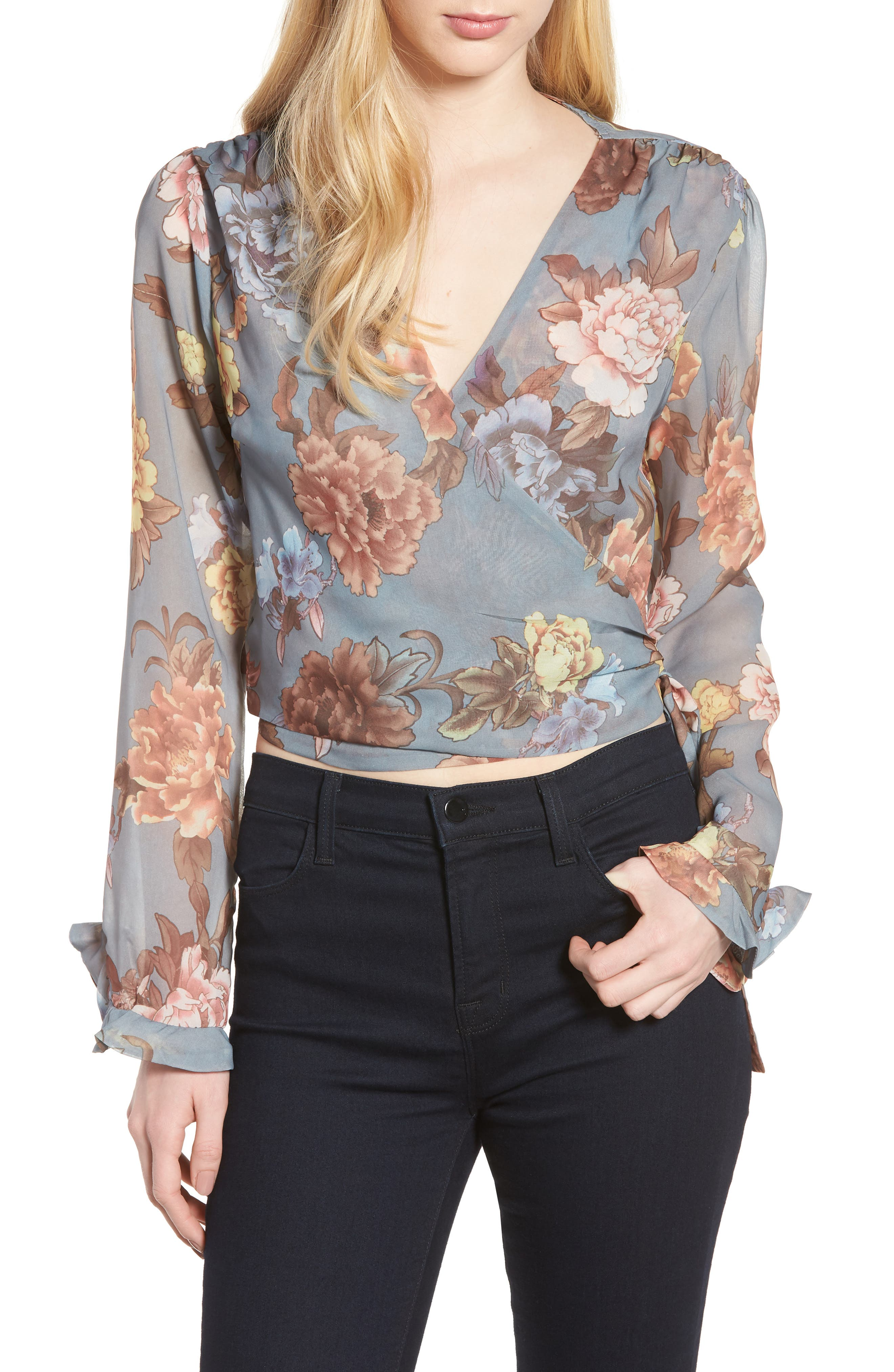 Ruffle Sleeve Wrap Blouse,                         Main,                         color, Grey Floral