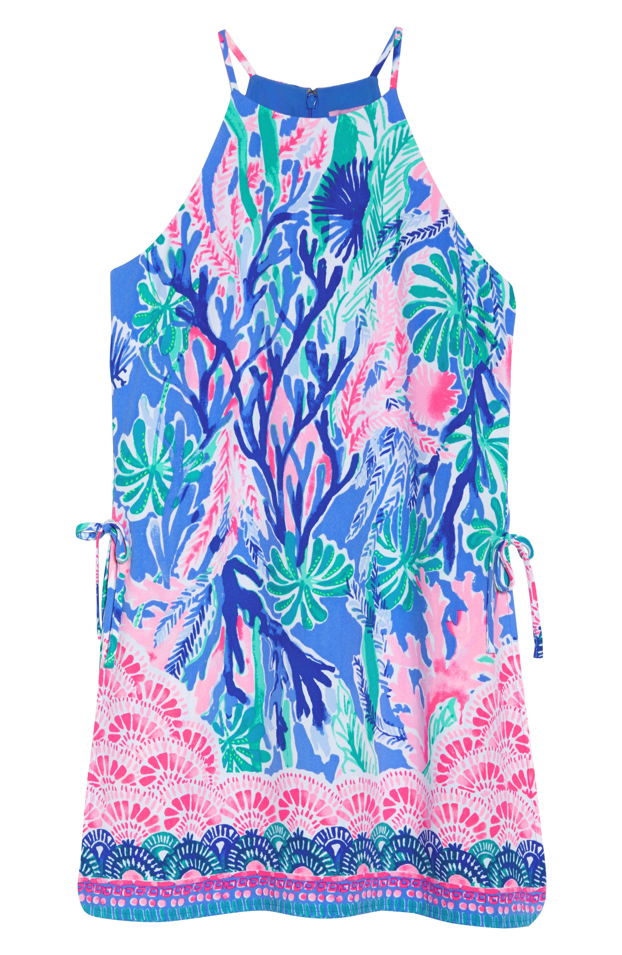 Pearl Romper Dress,                             Alternate thumbnail 6, color,                             Multi Jet Stream