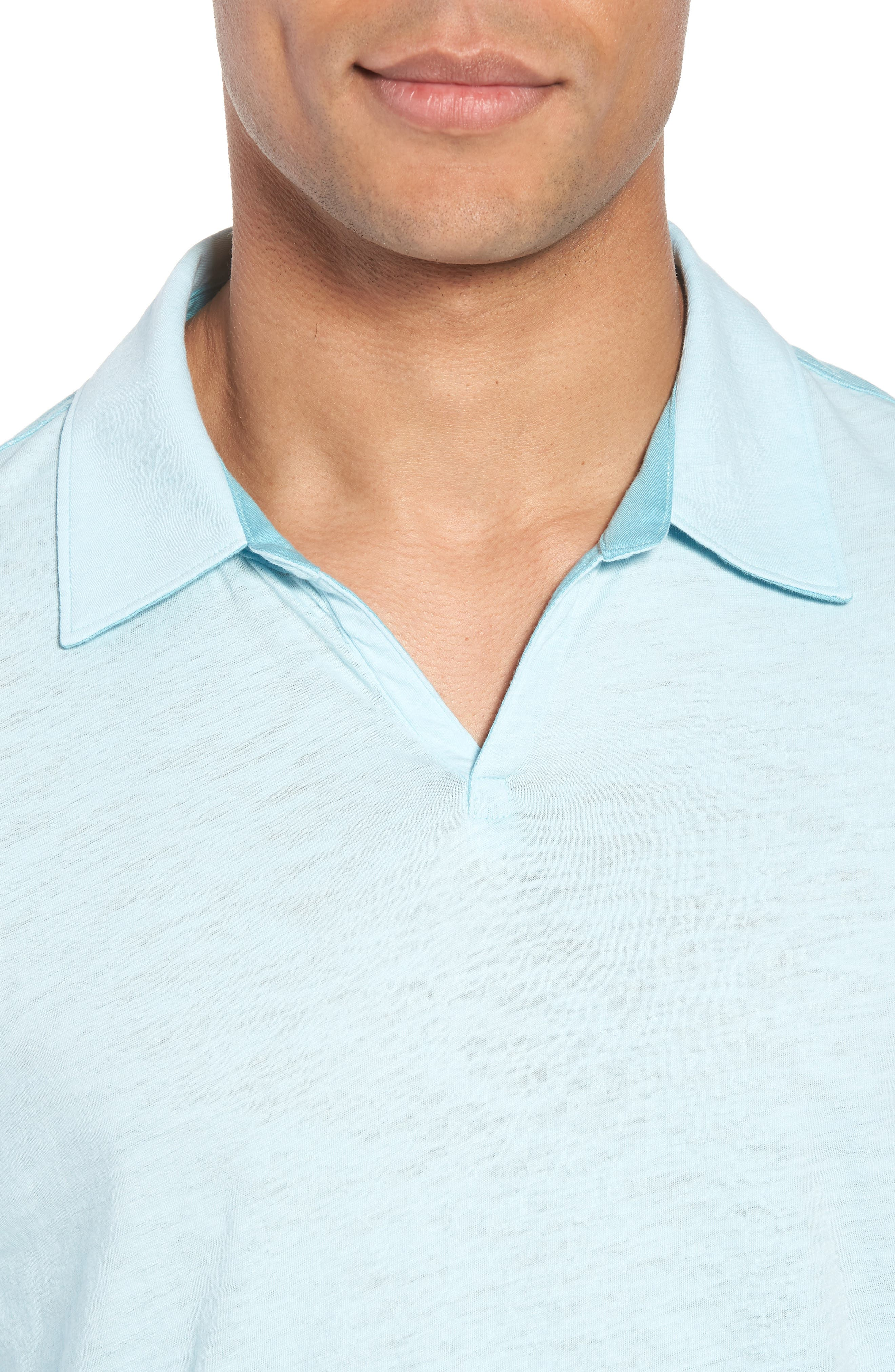 Clover Johnny Collar Polo,                             Alternate thumbnail 4, color,                             Light Turquoise