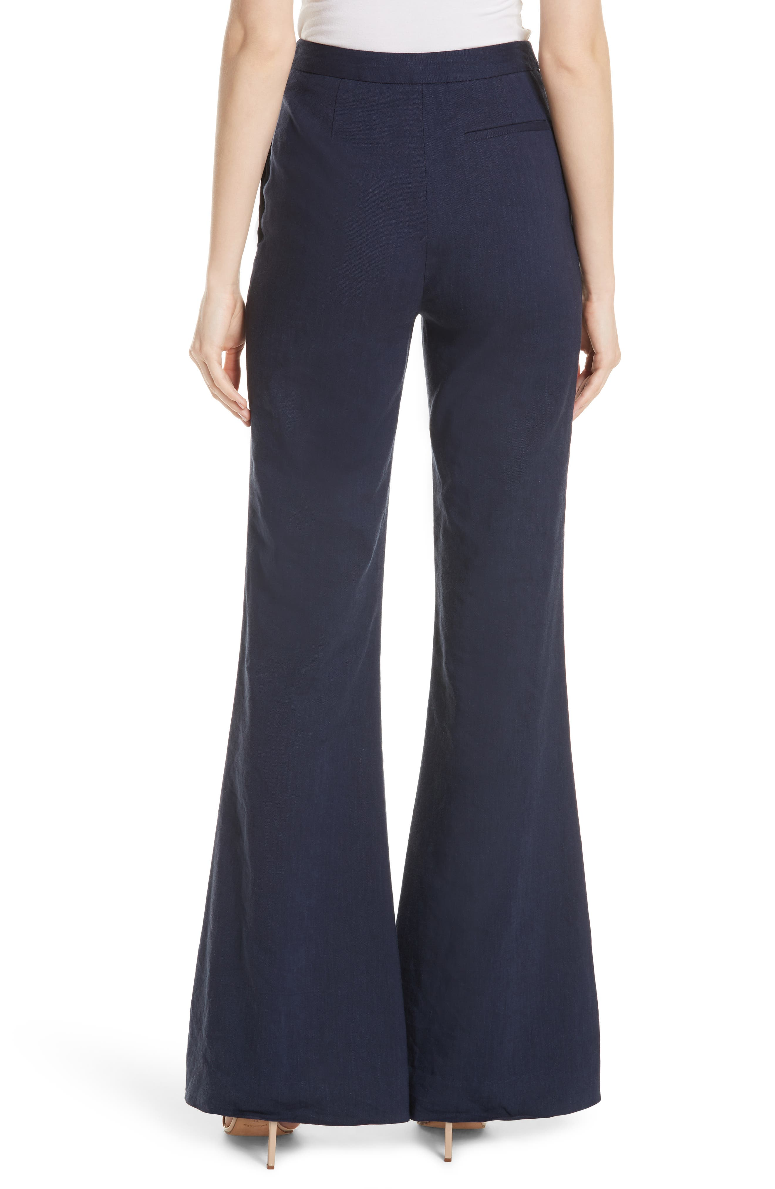 Diane von Furstenberg Pleat Front Flare Stretch Linen Blend Pants,                             Alternate thumbnail 2, color,                             New Navy
