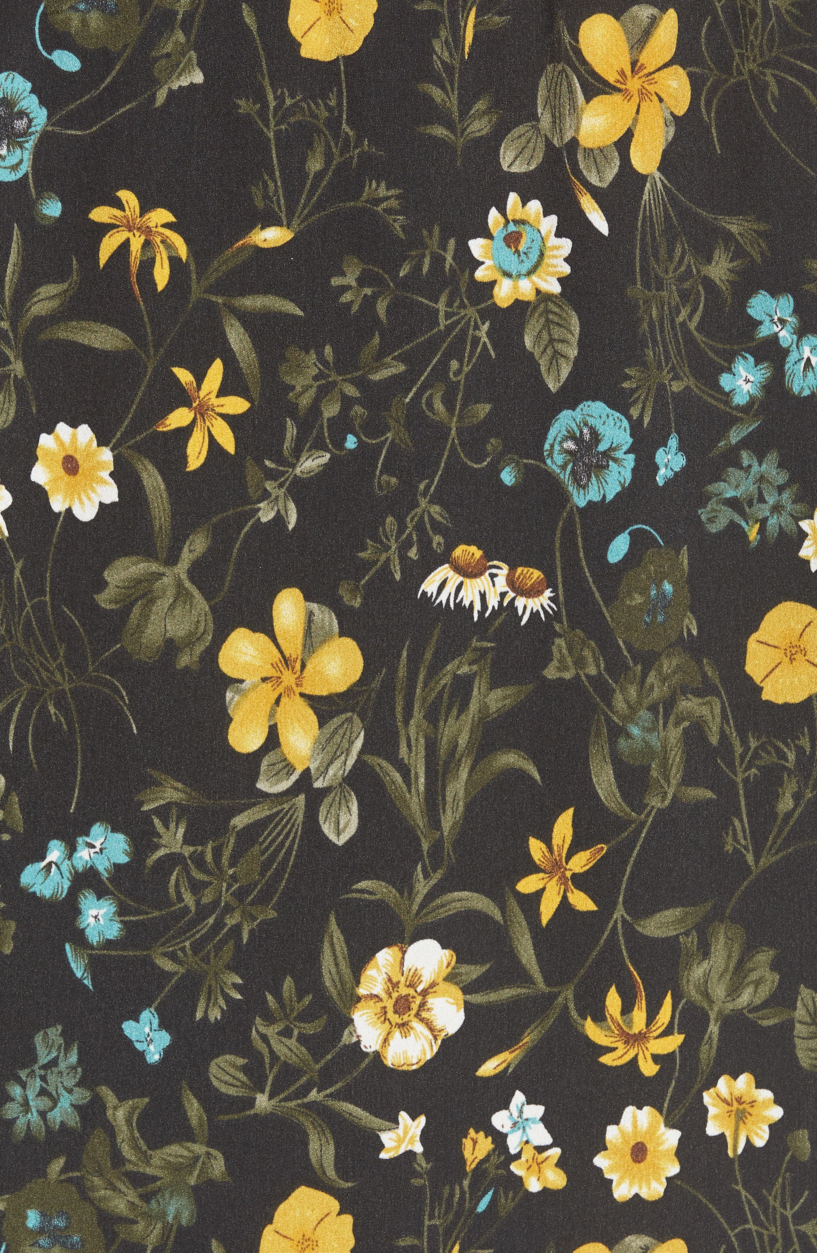 Off the Shoulder Tassel Top,                             Alternate thumbnail 6, color,                             Black Floral