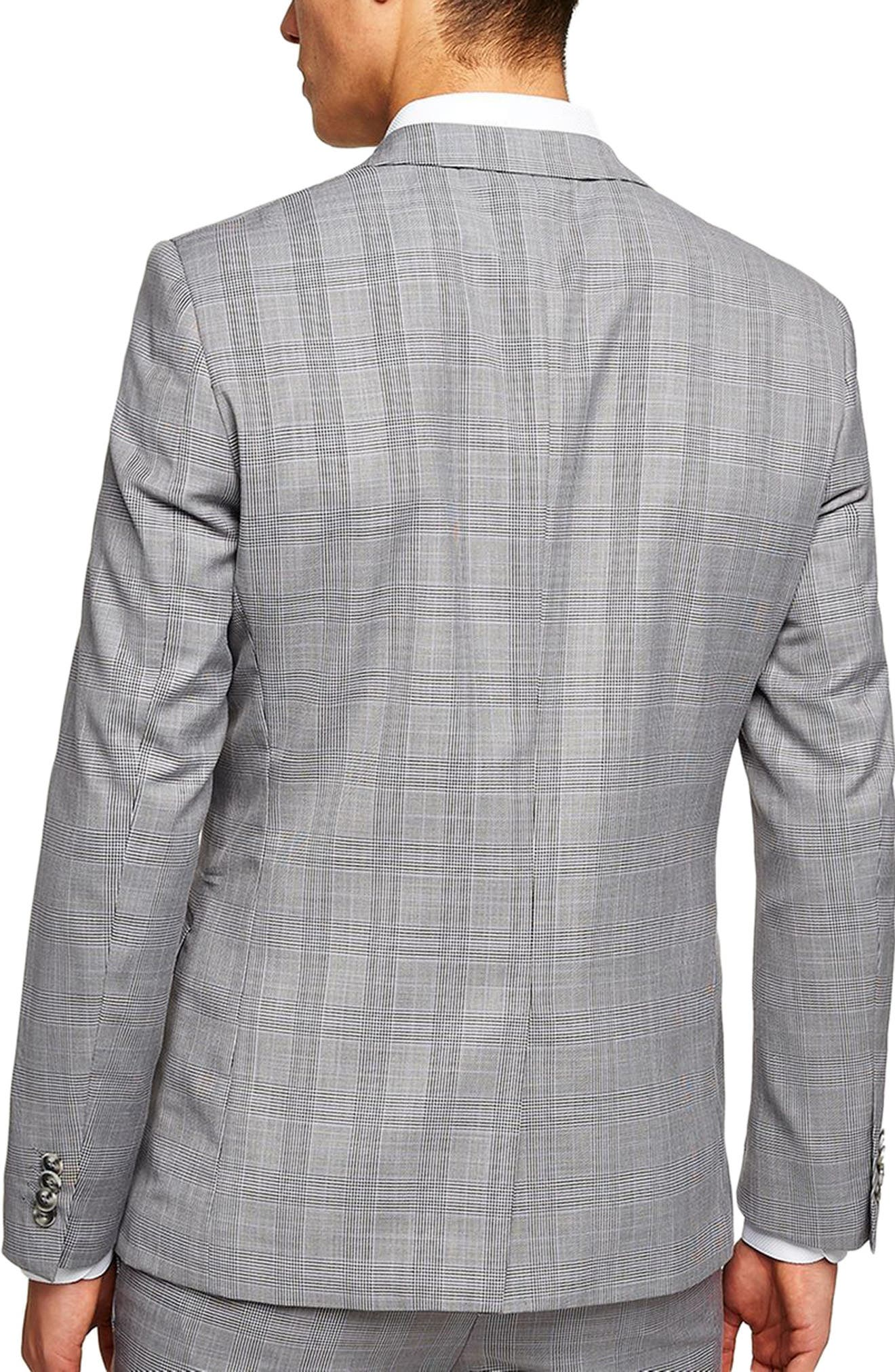 Skinny Fit Check Suit Jacket,                             Alternate thumbnail 2, color,                             Grey Multi