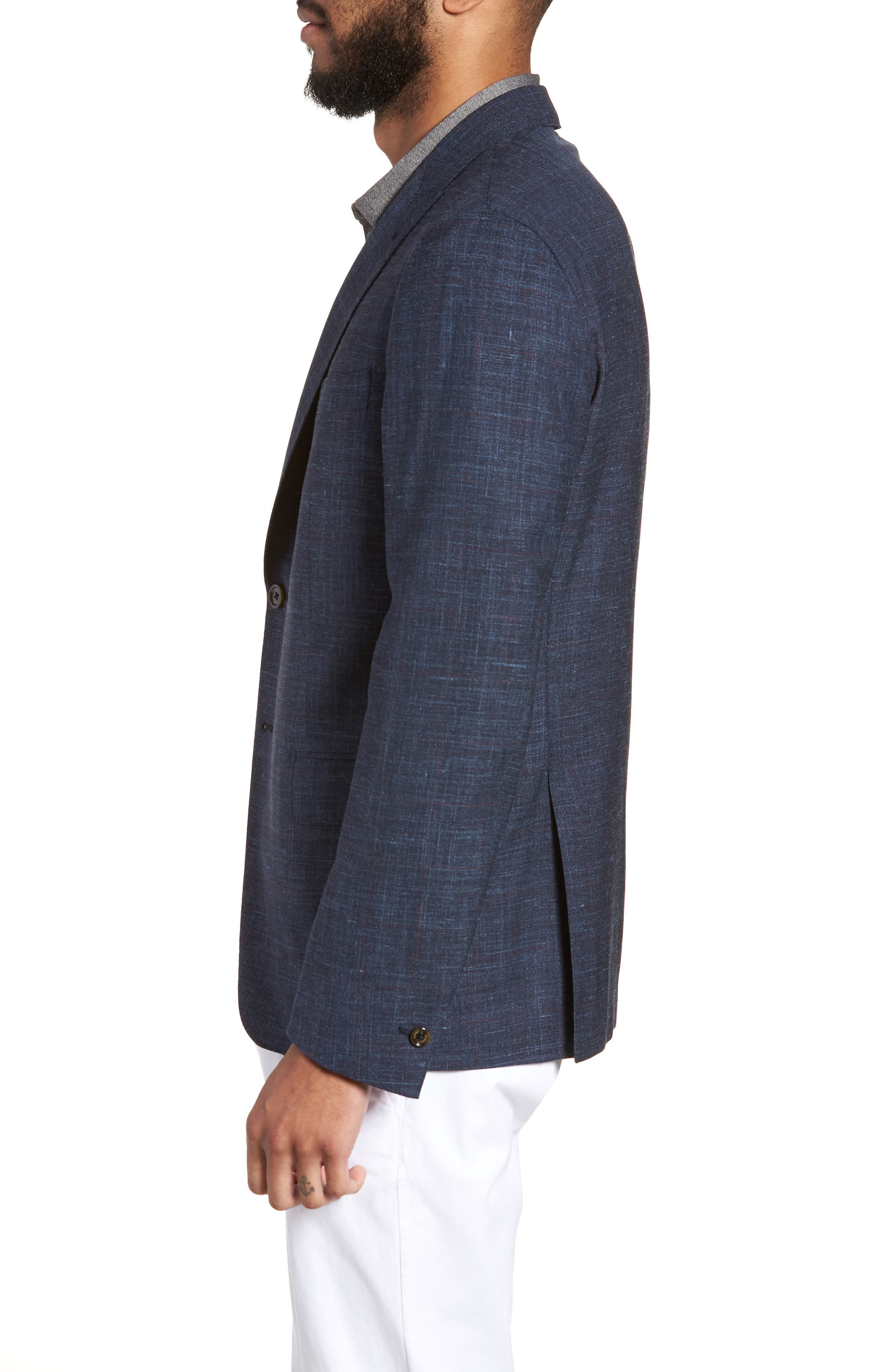 Trim Fit Wool Blend Blazer,                             Alternate thumbnail 3, color,                             Denim Blue