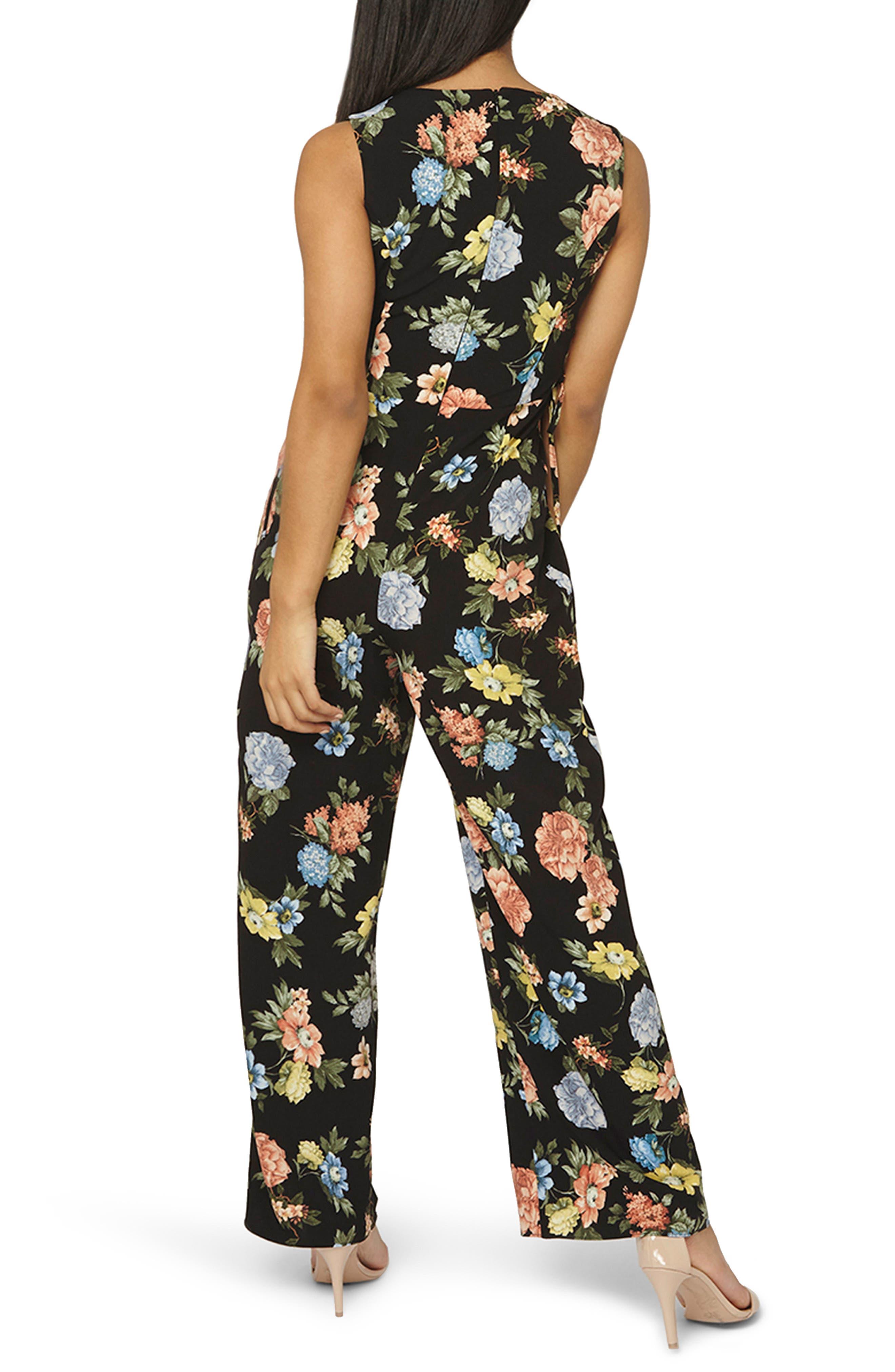 Floral Lace-Up Jumpsuit,                             Alternate thumbnail 2, color,                             Black