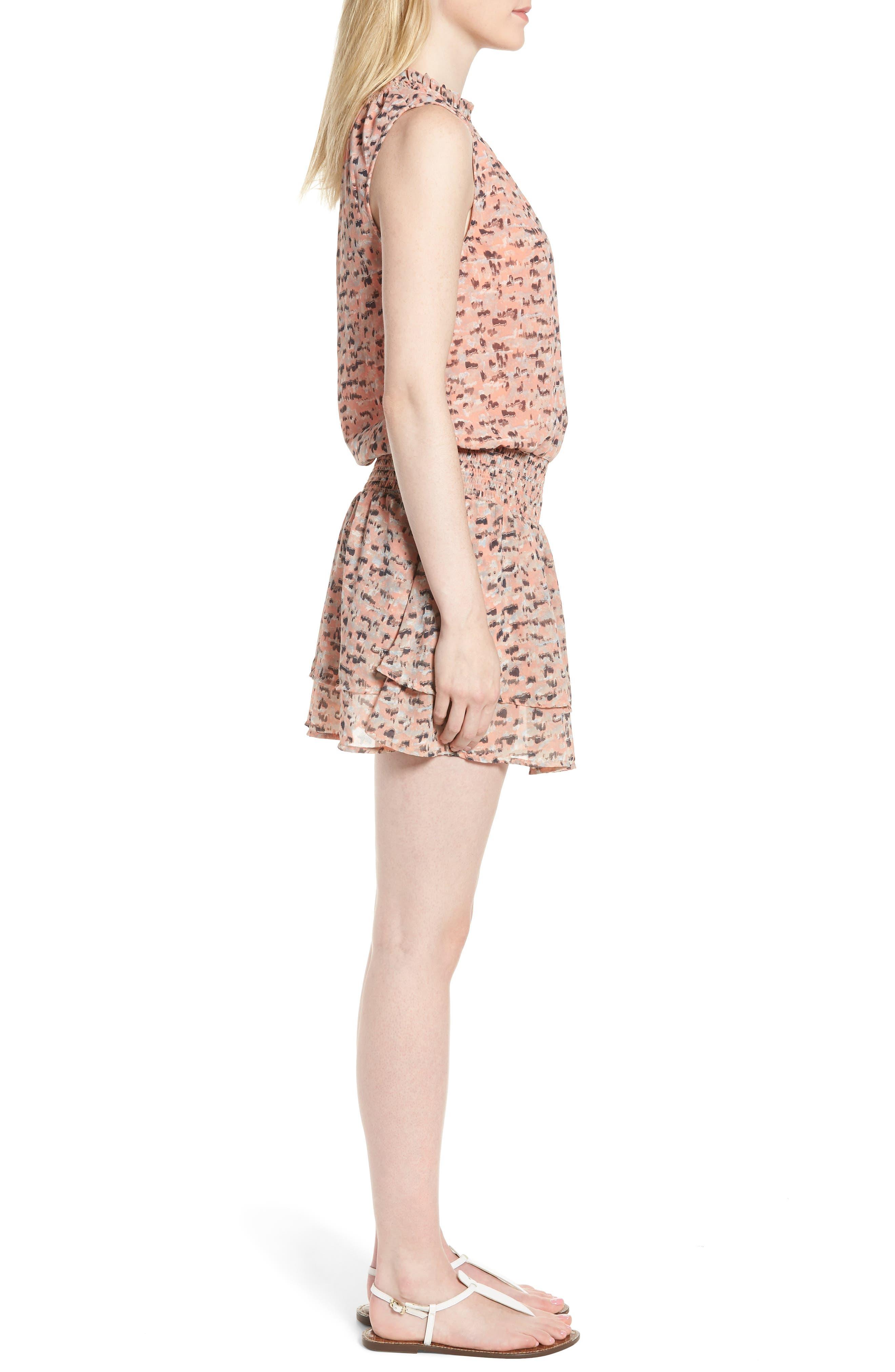 Printed Drop Waist Mini Dress,                             Alternate thumbnail 3, color,                             Pink Multi