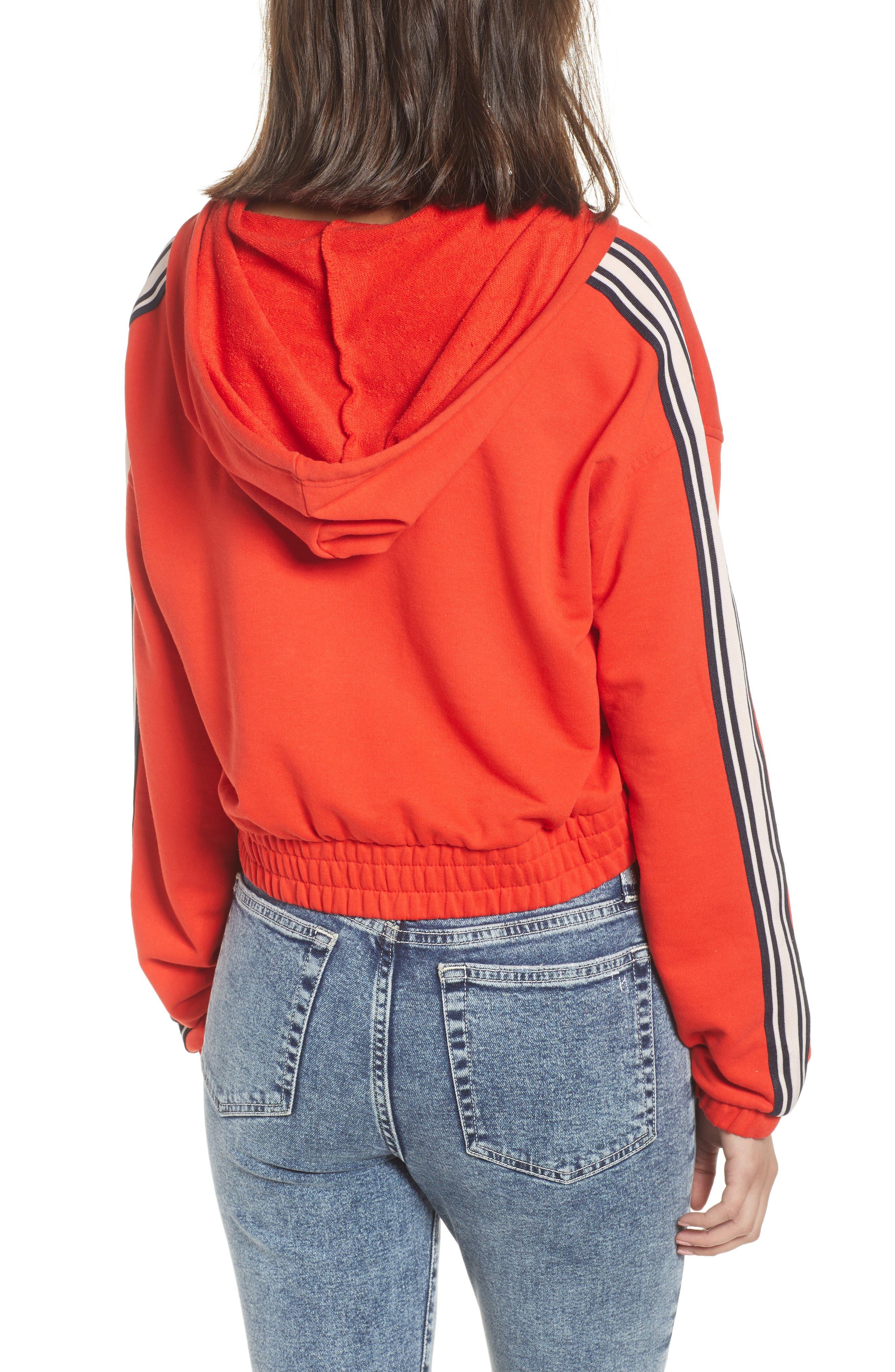 Stripe Half Zip Hoodie,                             Alternate thumbnail 2, color,                             City Rouge