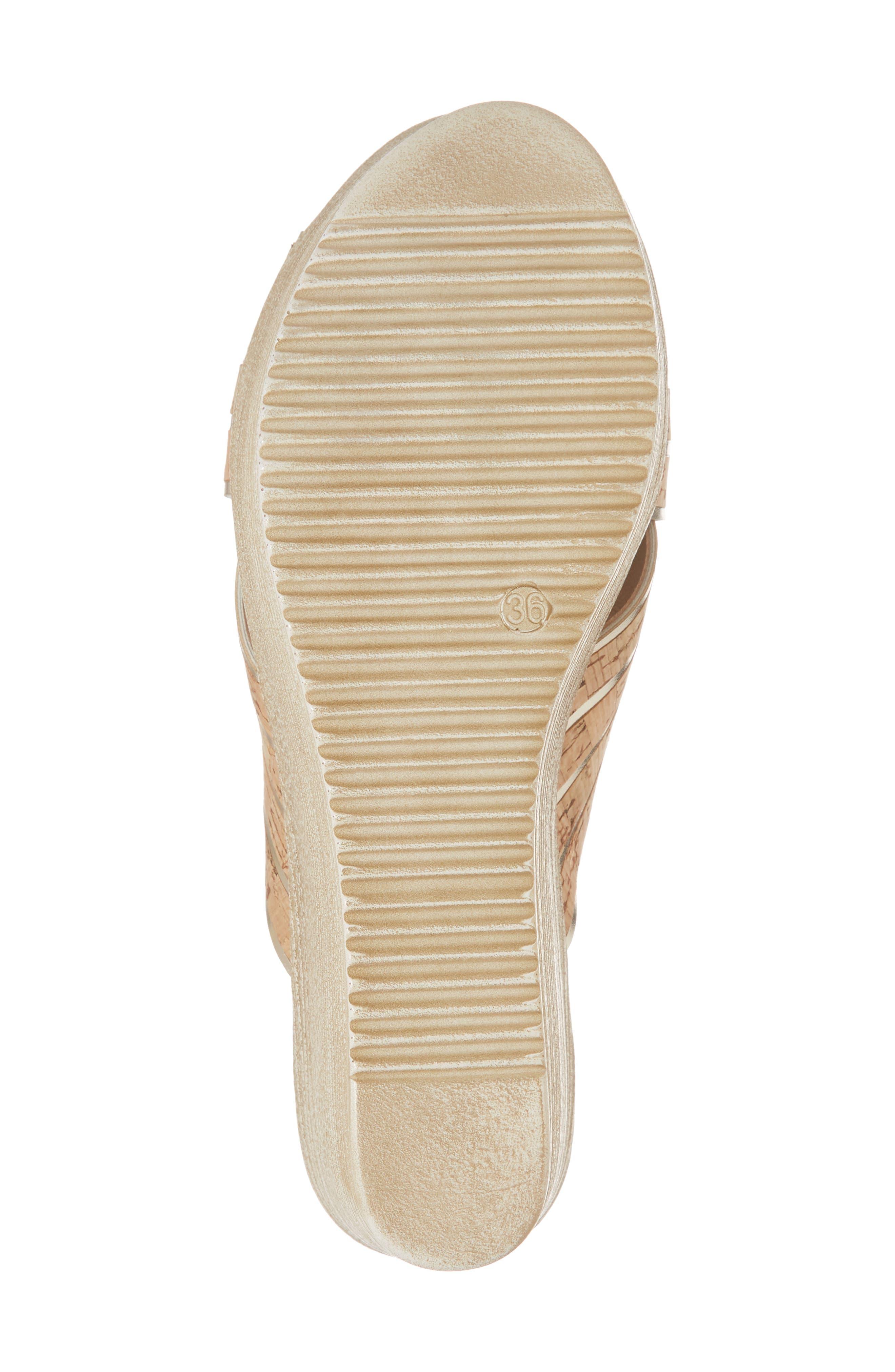 Jacey Platform Wedge Slide Sandal,                             Alternate thumbnail 6, color,                             Cork/ Gold