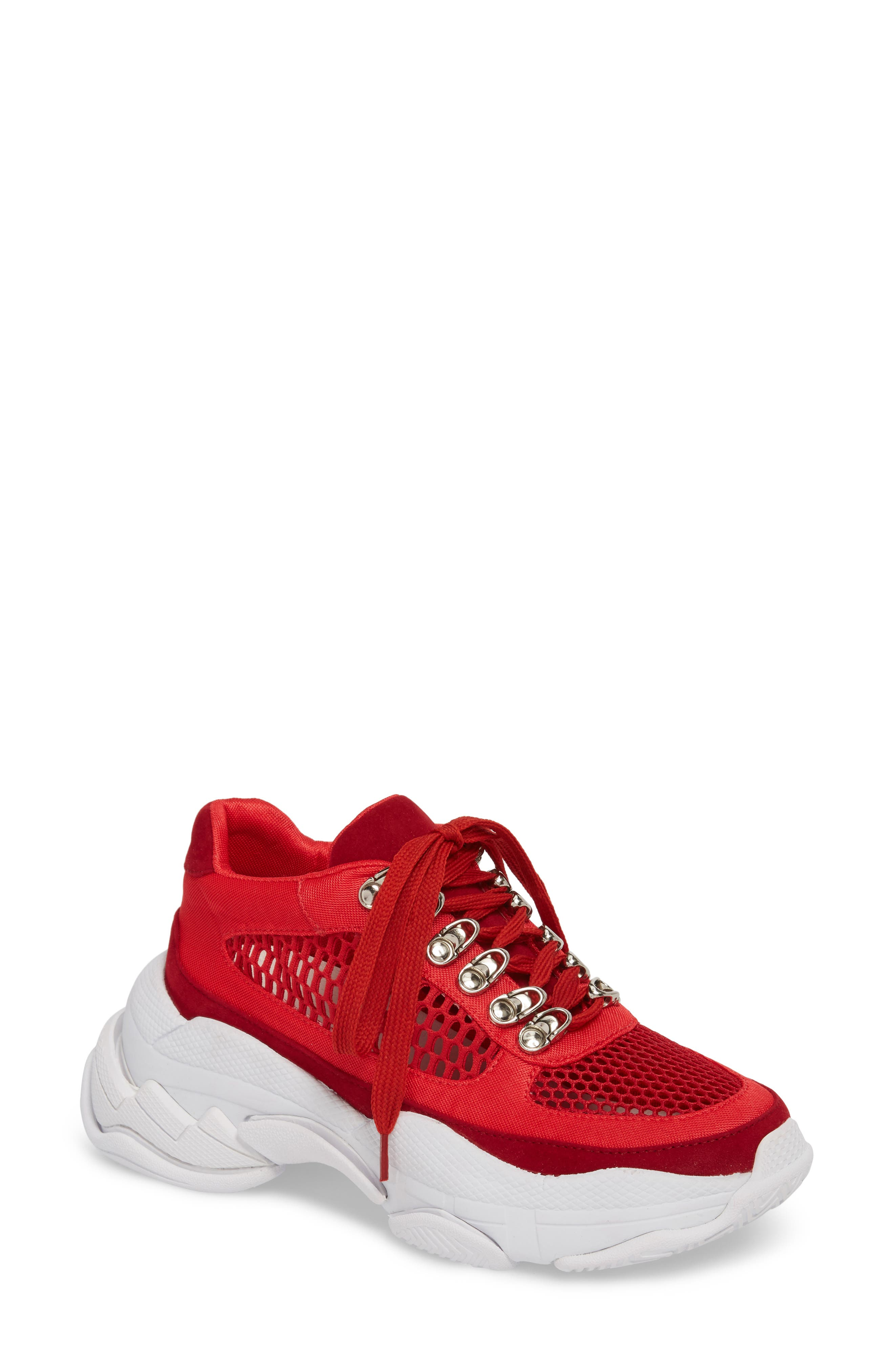 Hotspot Lace-Up Sneaker,                             Main thumbnail 1, color,                             Red