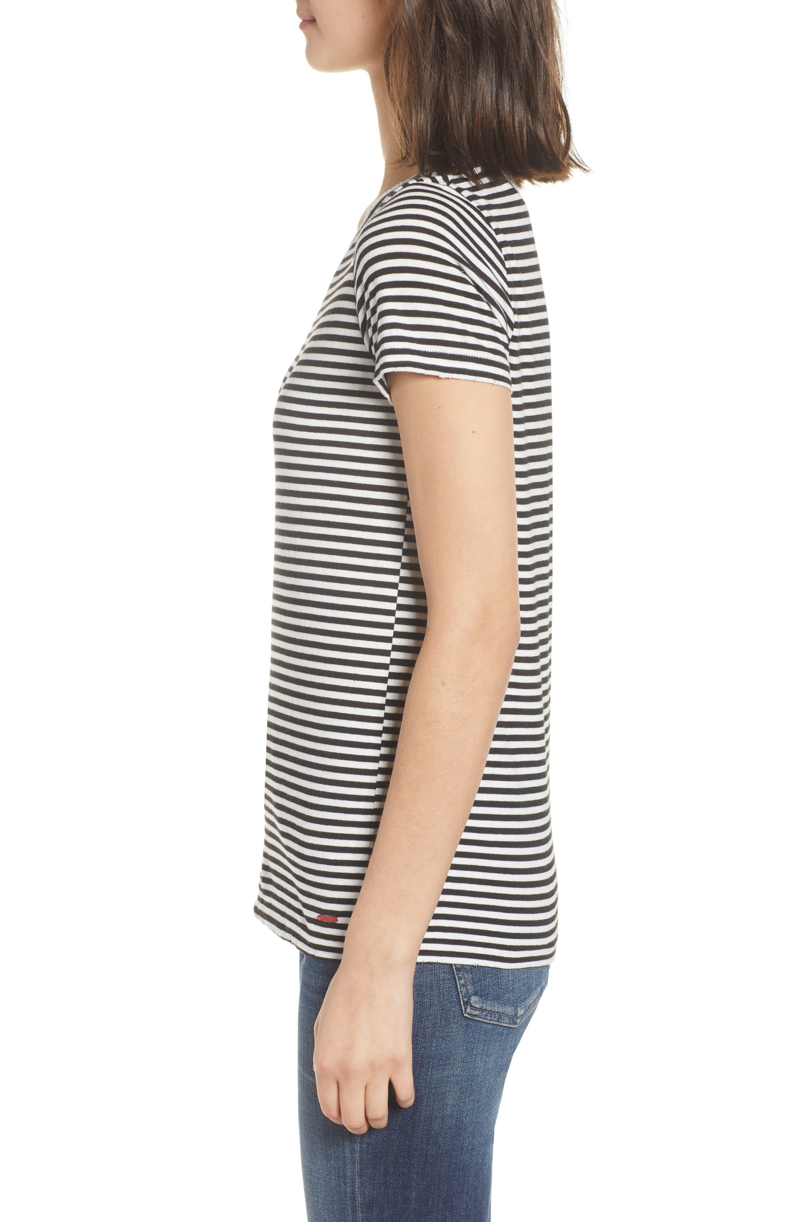 Dorado Stripe One-Shoulder Tee,                             Alternate thumbnail 3, color,                             Black Cat/ White Stripe
