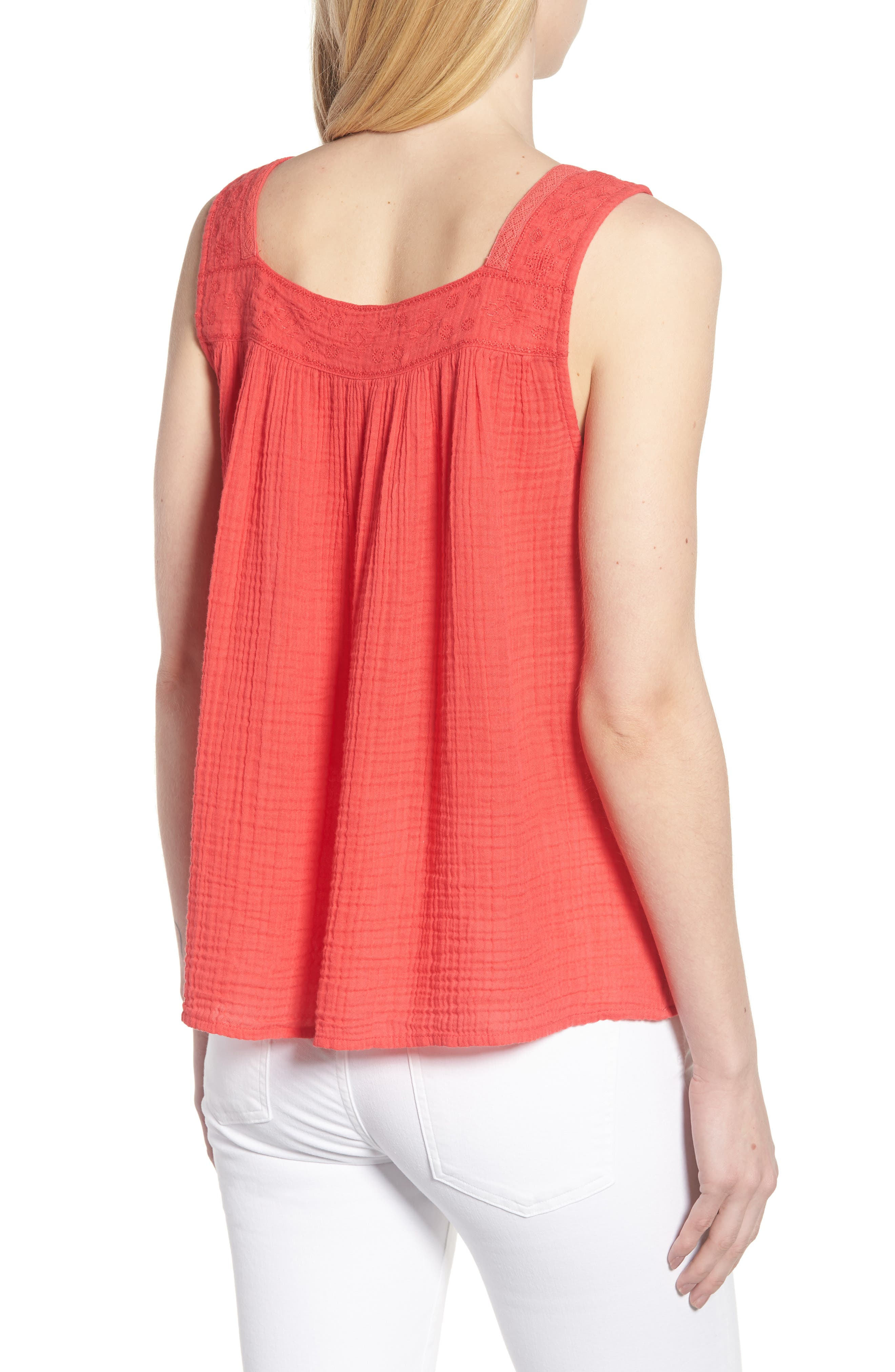 Embroidered Neck Swing Tank,                             Alternate thumbnail 2, color,                             Pink Teaberry