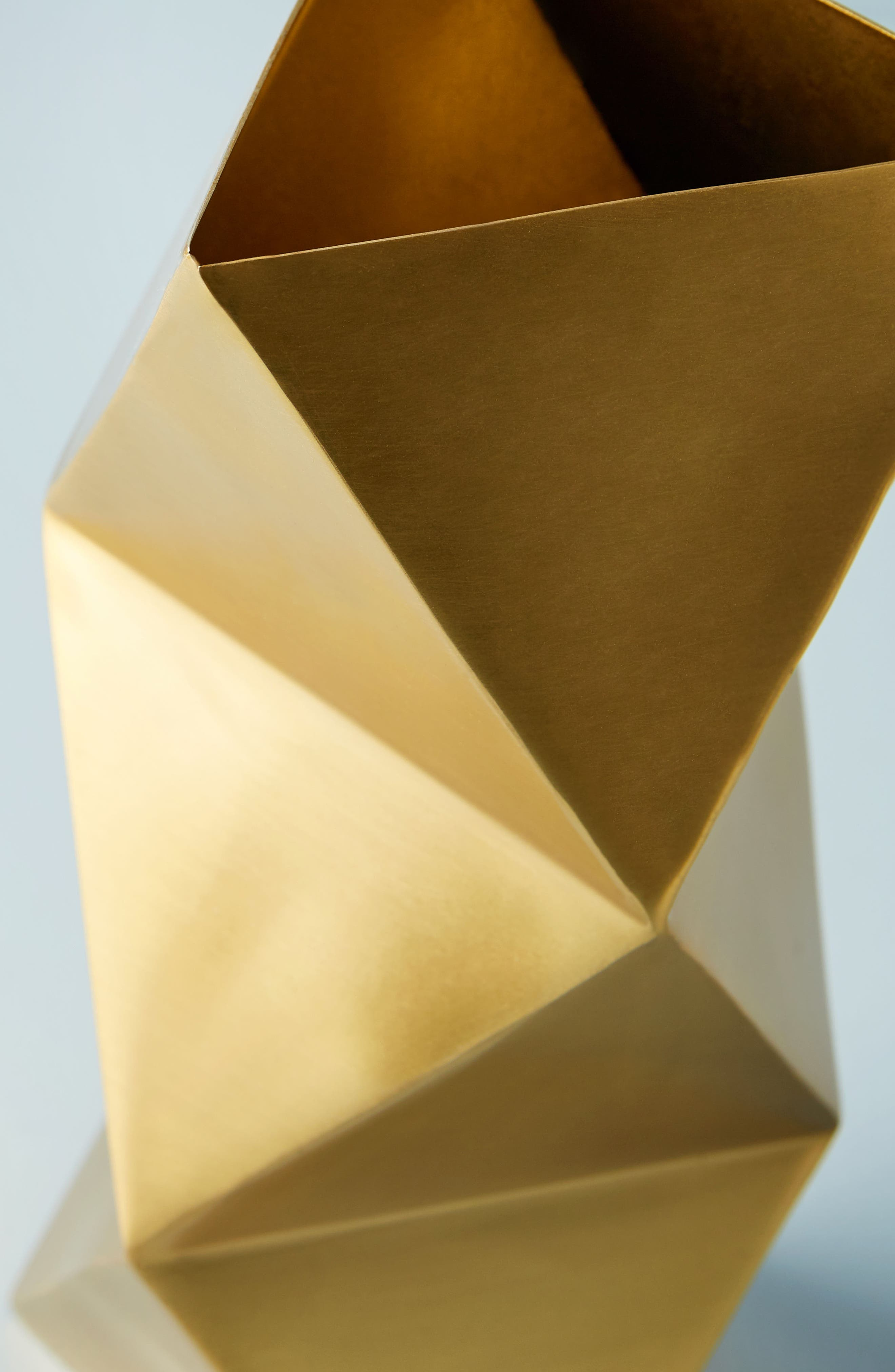Faceted Triangle Metal Vase,                             Alternate thumbnail 2, color,                             Gold
