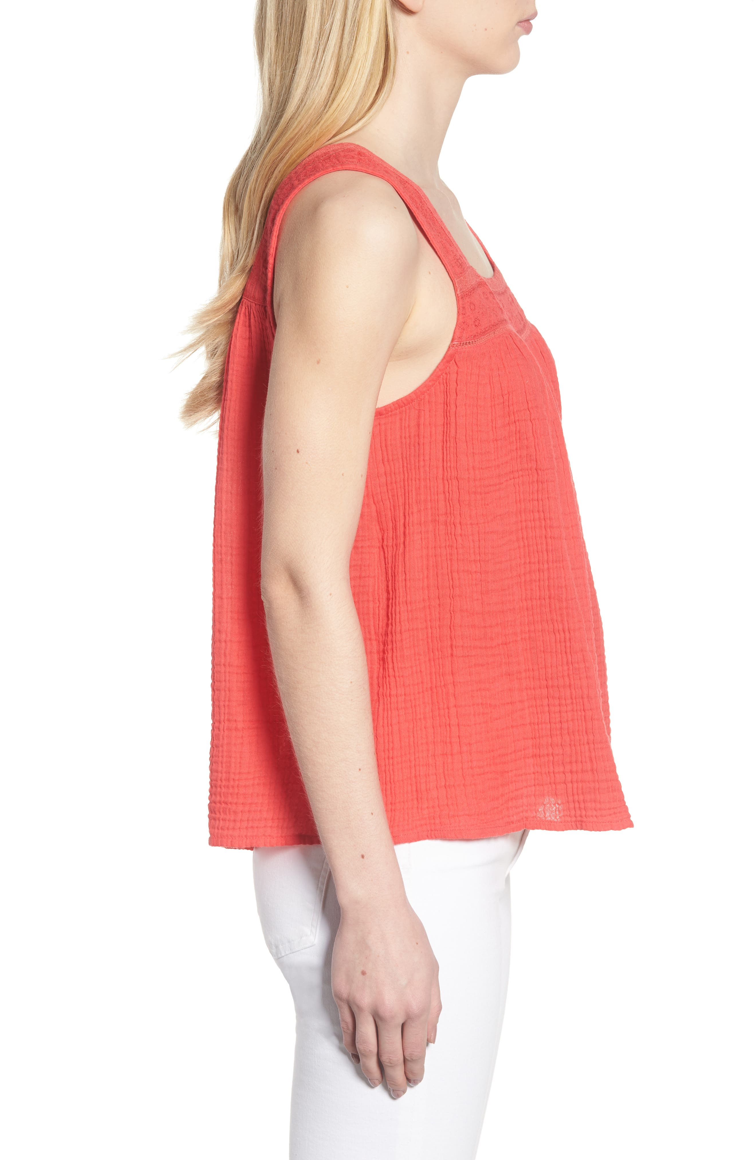 Embroidered Neck Swing Tank,                             Alternate thumbnail 3, color,                             Pink Teaberry