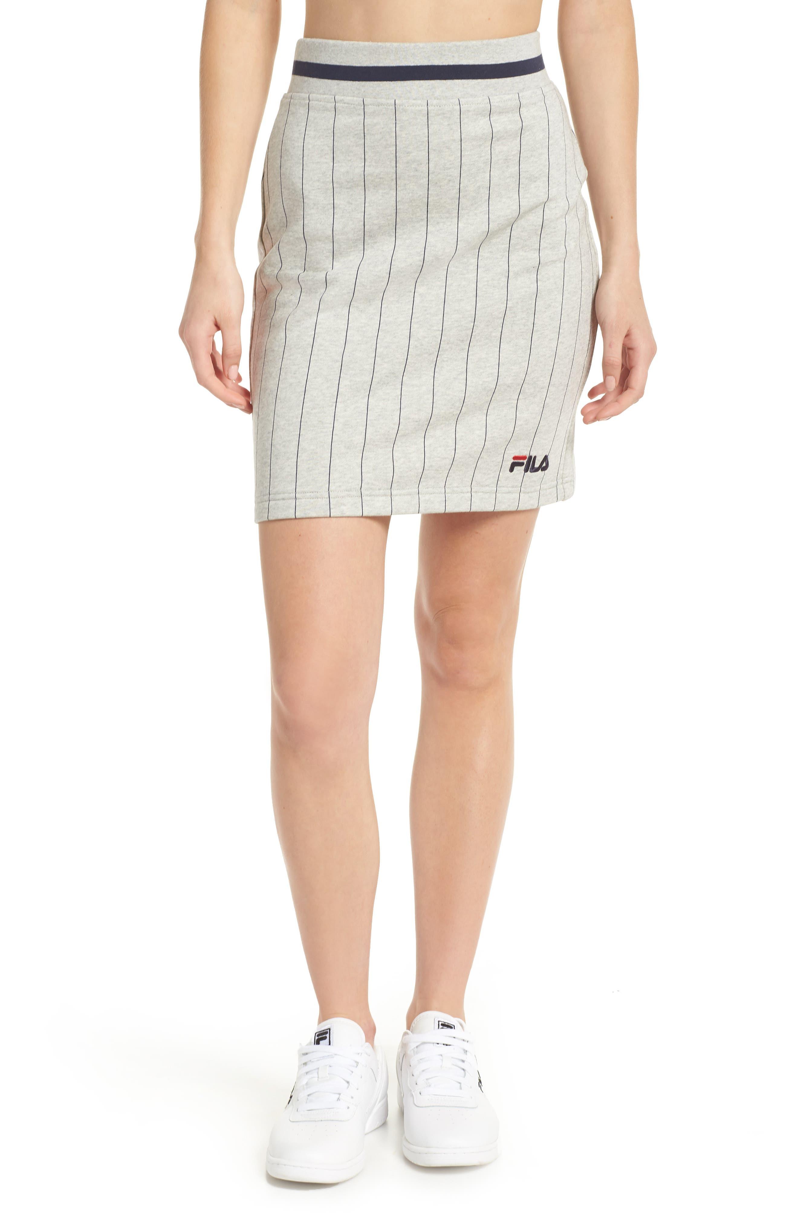 Francesca Pinstripe Skirt,                         Main,                         color, Light Grey Marl/ Peacoat