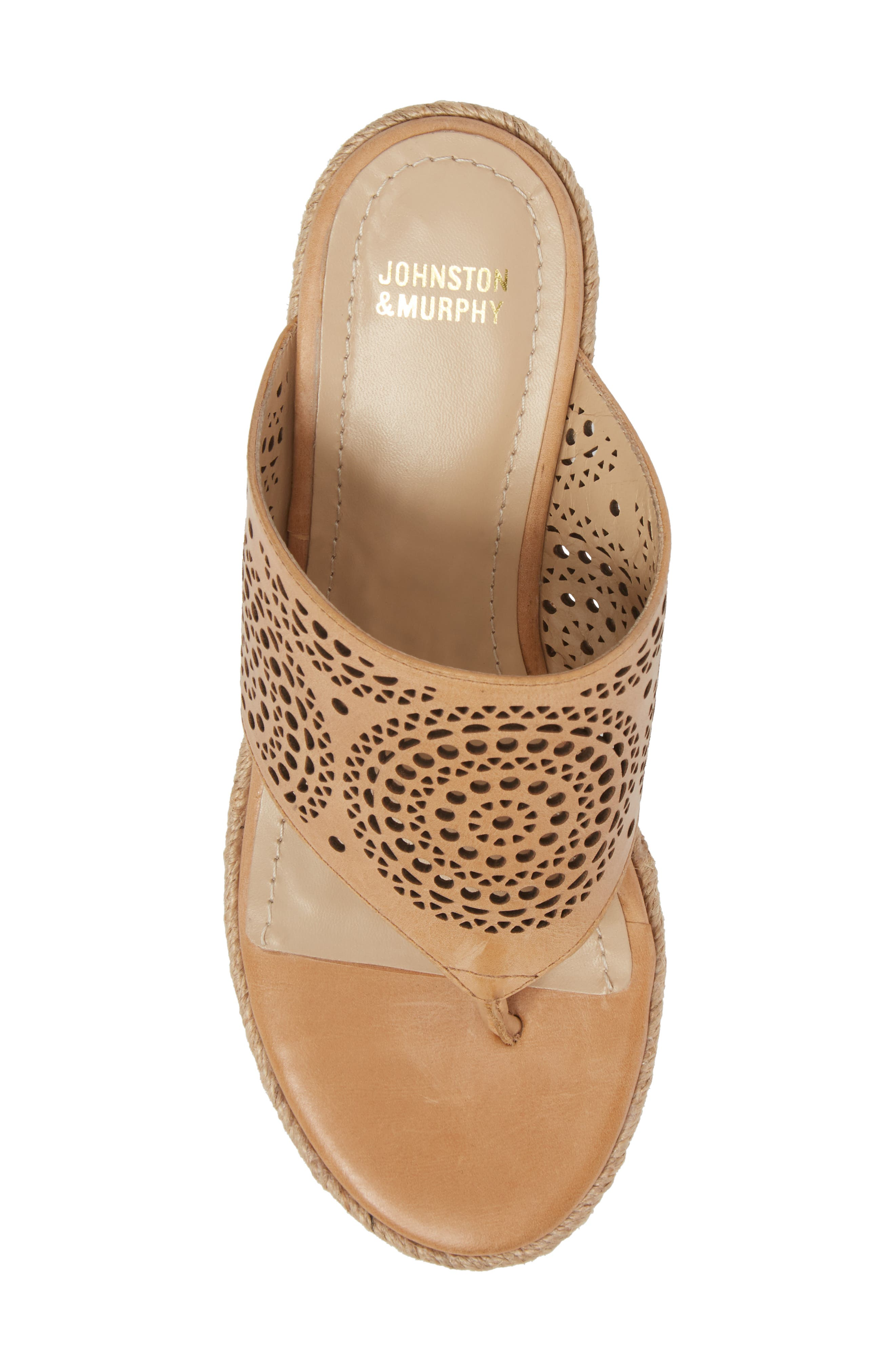 Gina Wedge Sandal,                             Alternate thumbnail 5, color,                             Tan Leather