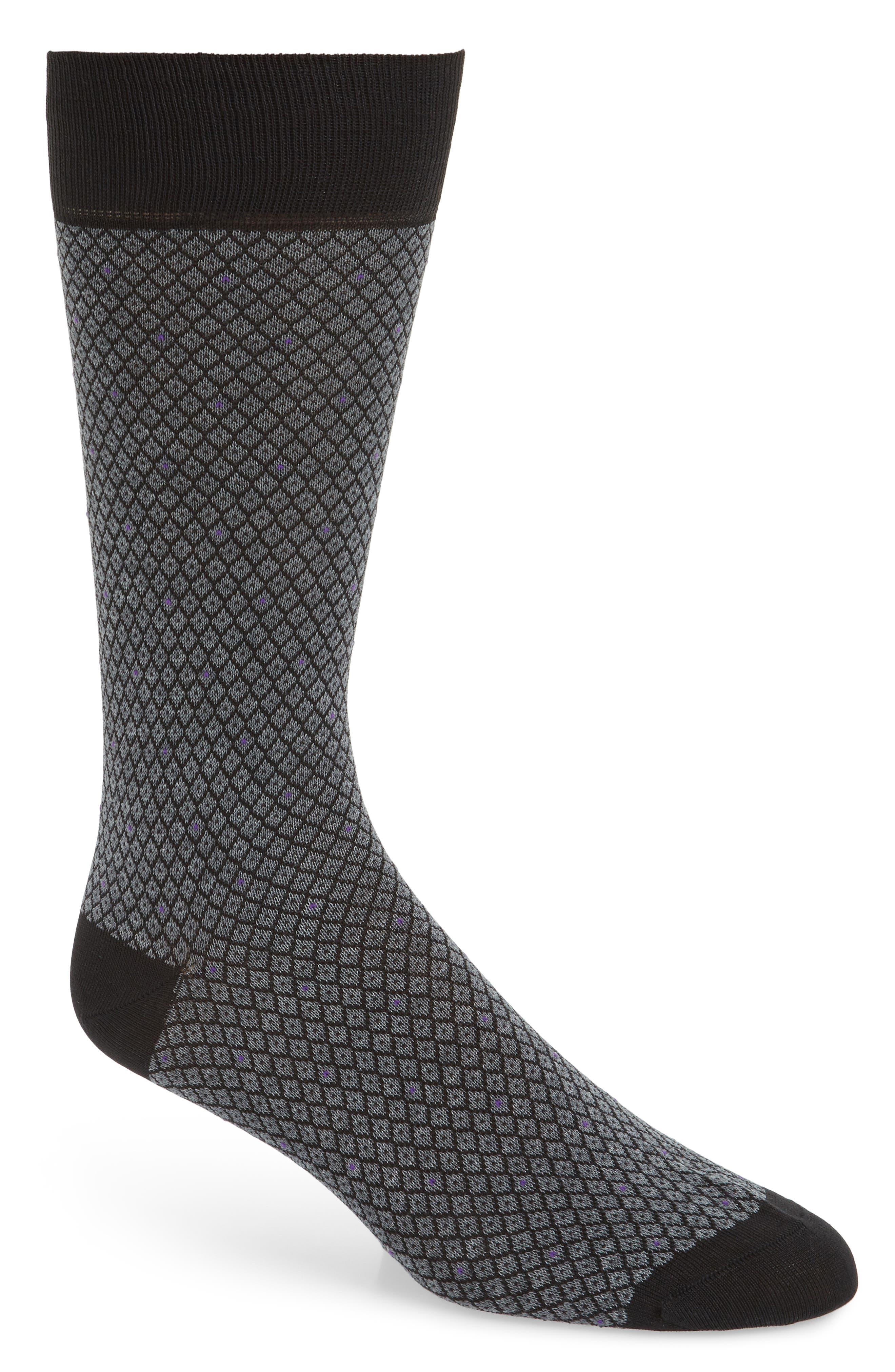 Diamond Jacquard Socks,                         Main,                         color, Charcoal