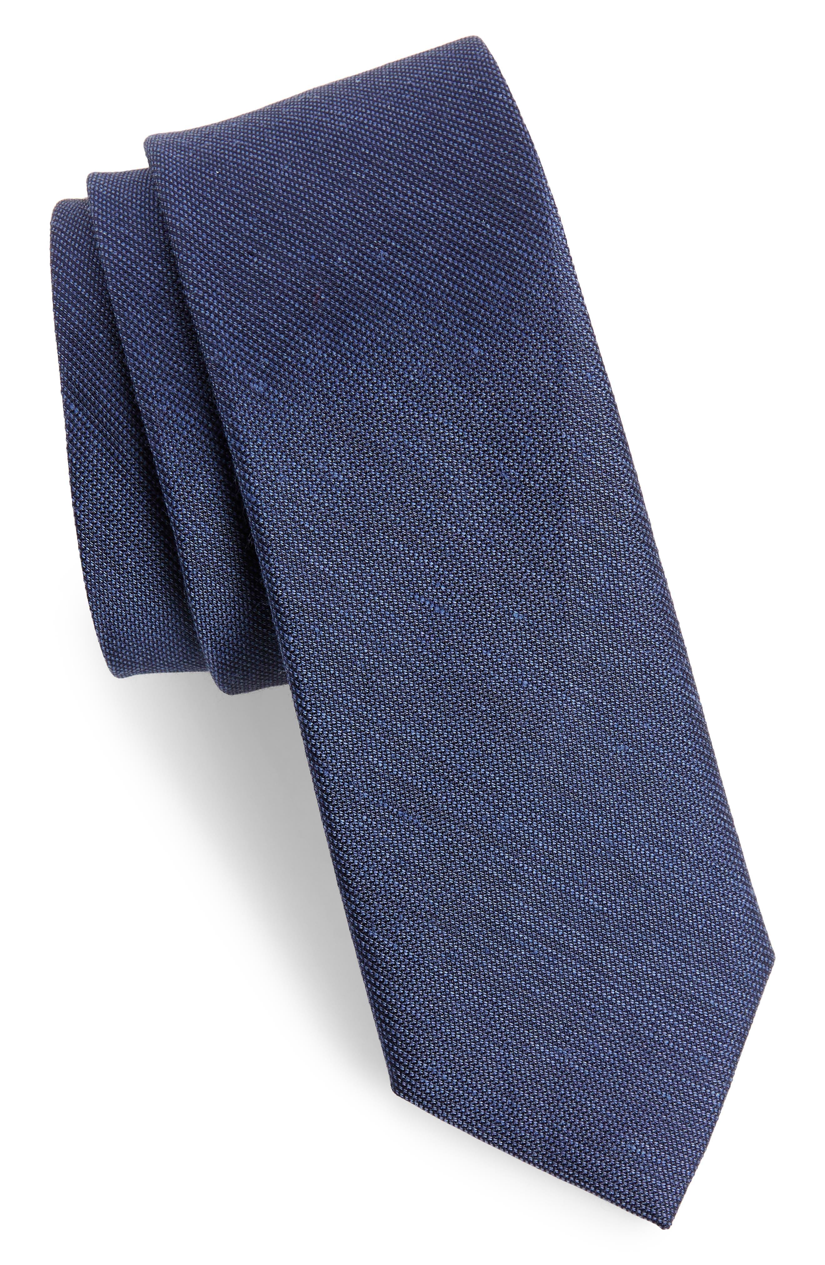 Cardinal Solid Silk & Cotton Tie,                         Main,                         color, Navy