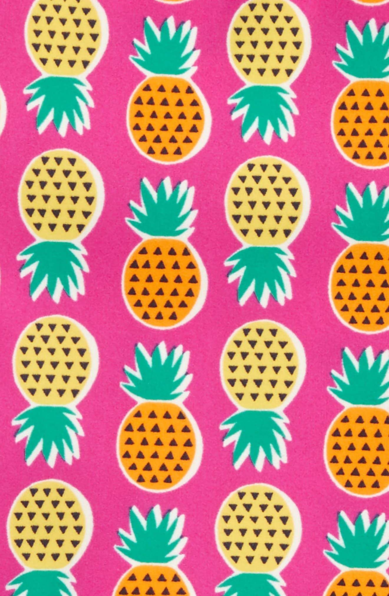 Mixed Print Two-Piece Rashguard Swimsuit,                             Alternate thumbnail 2, color,                             Tropical Pineapples