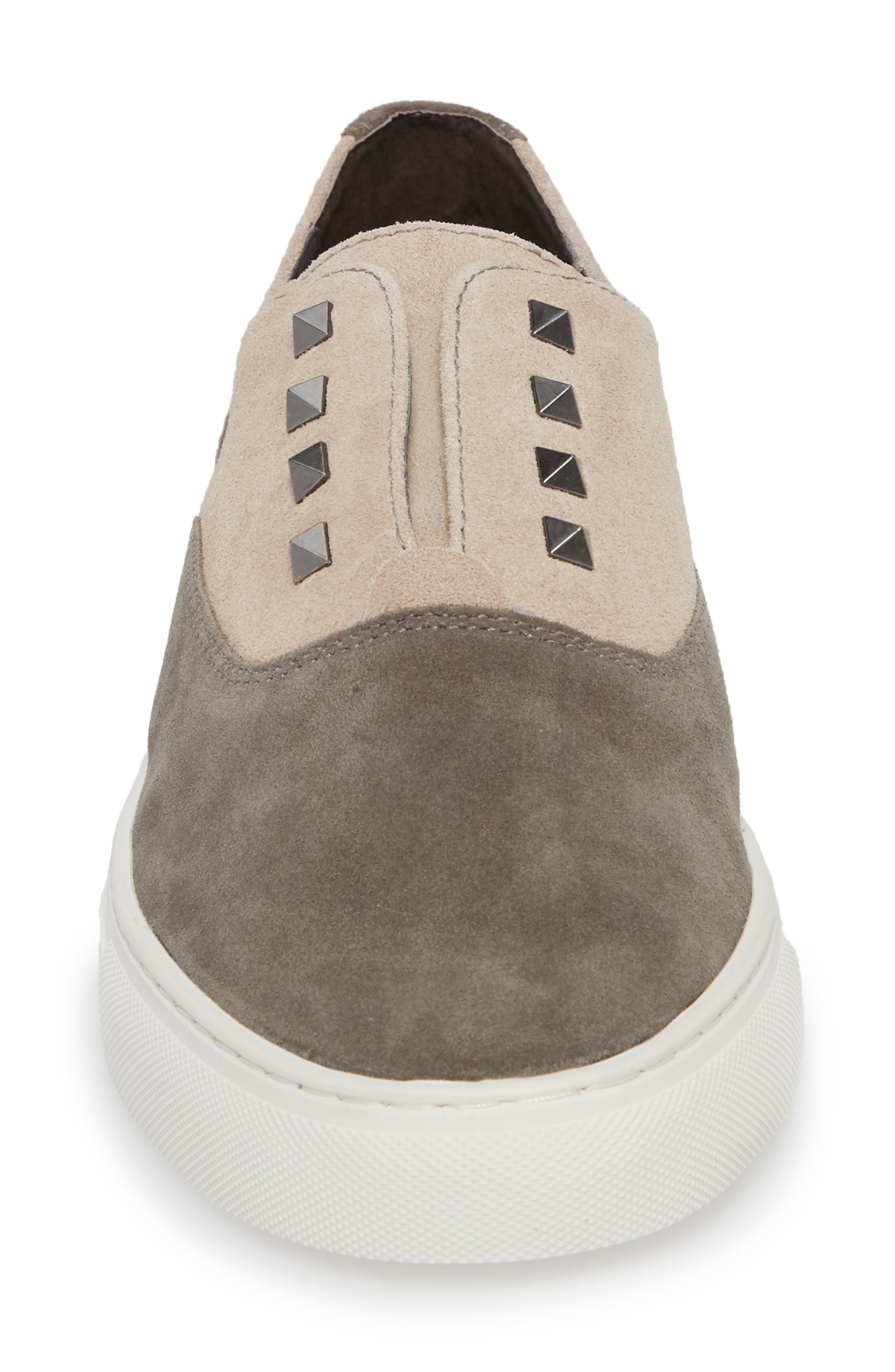 Aryo Studded Laceless Sneaker,                             Alternate thumbnail 4, color,                             Chocolate/ Sand Suede